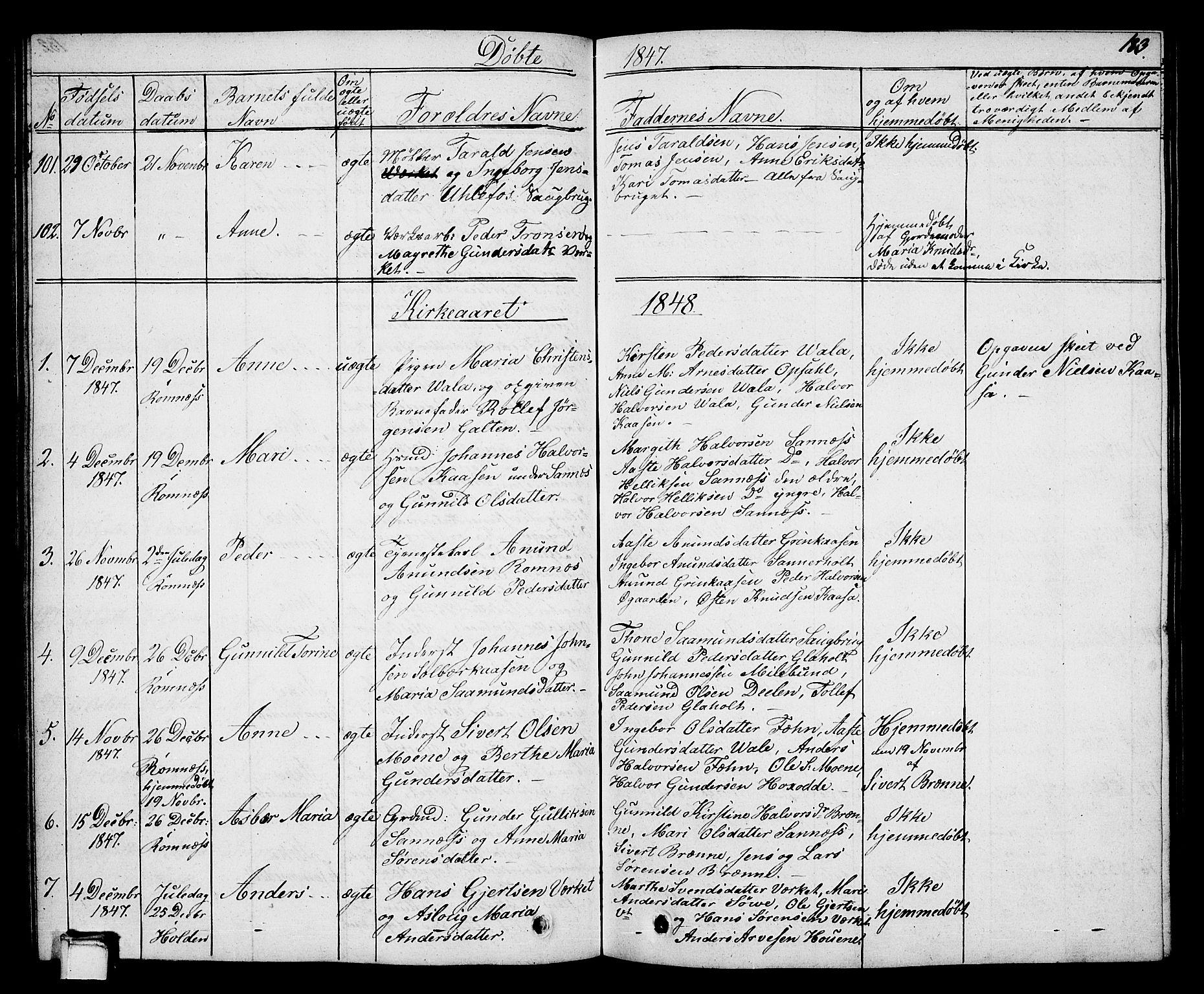 SAKO, Holla kirkebøker, G/Ga/L0002: Klokkerbok nr. I 2, 1830-1848, s. 183