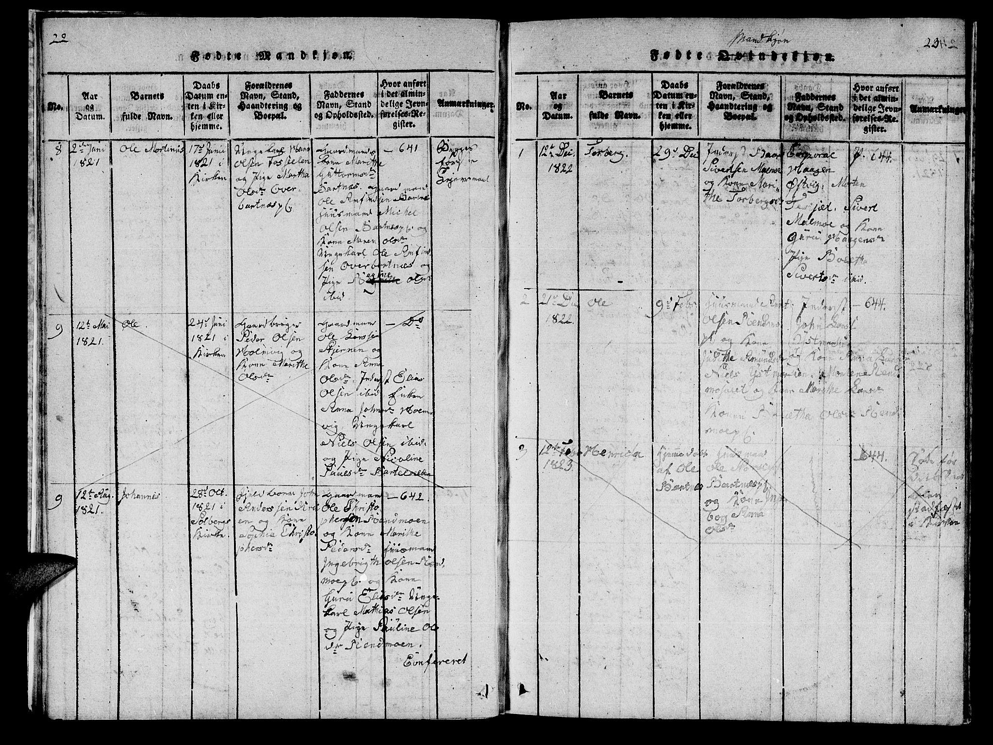SAT, Ministerialprotokoller, klokkerbøker og fødselsregistre - Nord-Trøndelag, 745/L0433: Klokkerbok nr. 745C02, 1817-1825, s. 22-23