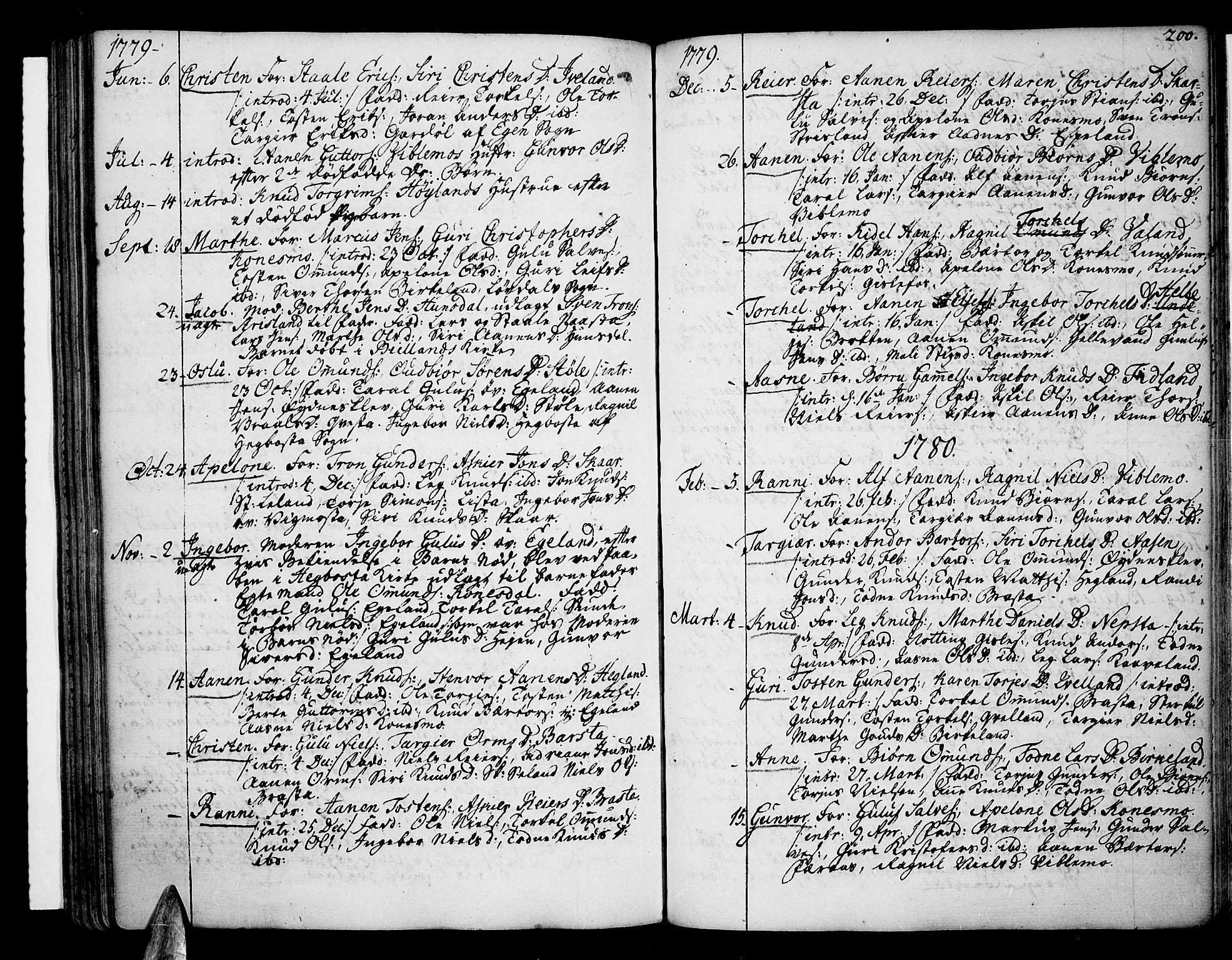 SAK, Sør-Audnedal sokneprestkontor, F/Fa/Fab/L0002: Ministerialbok nr. A 2 /4, 1768-1814, s. 200