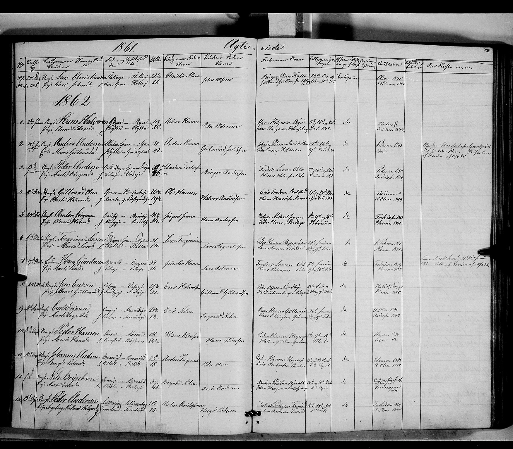SAH, Jevnaker prestekontor, Ministerialbok nr. 7, 1858-1876, s. 176