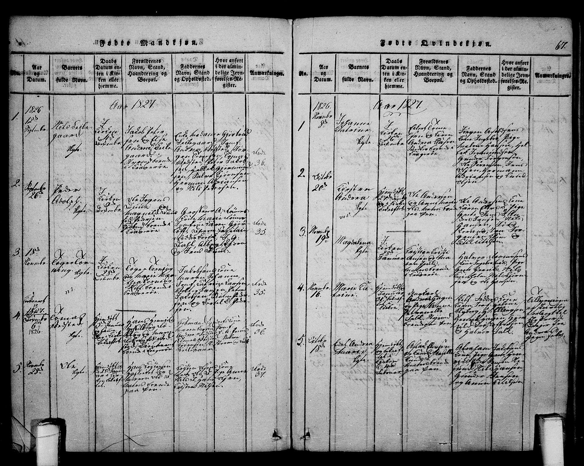 SAKO, Kragerø kirkebøker, F/Fa/L0004: Ministerialbok nr. 4, 1814-1831, s. 67