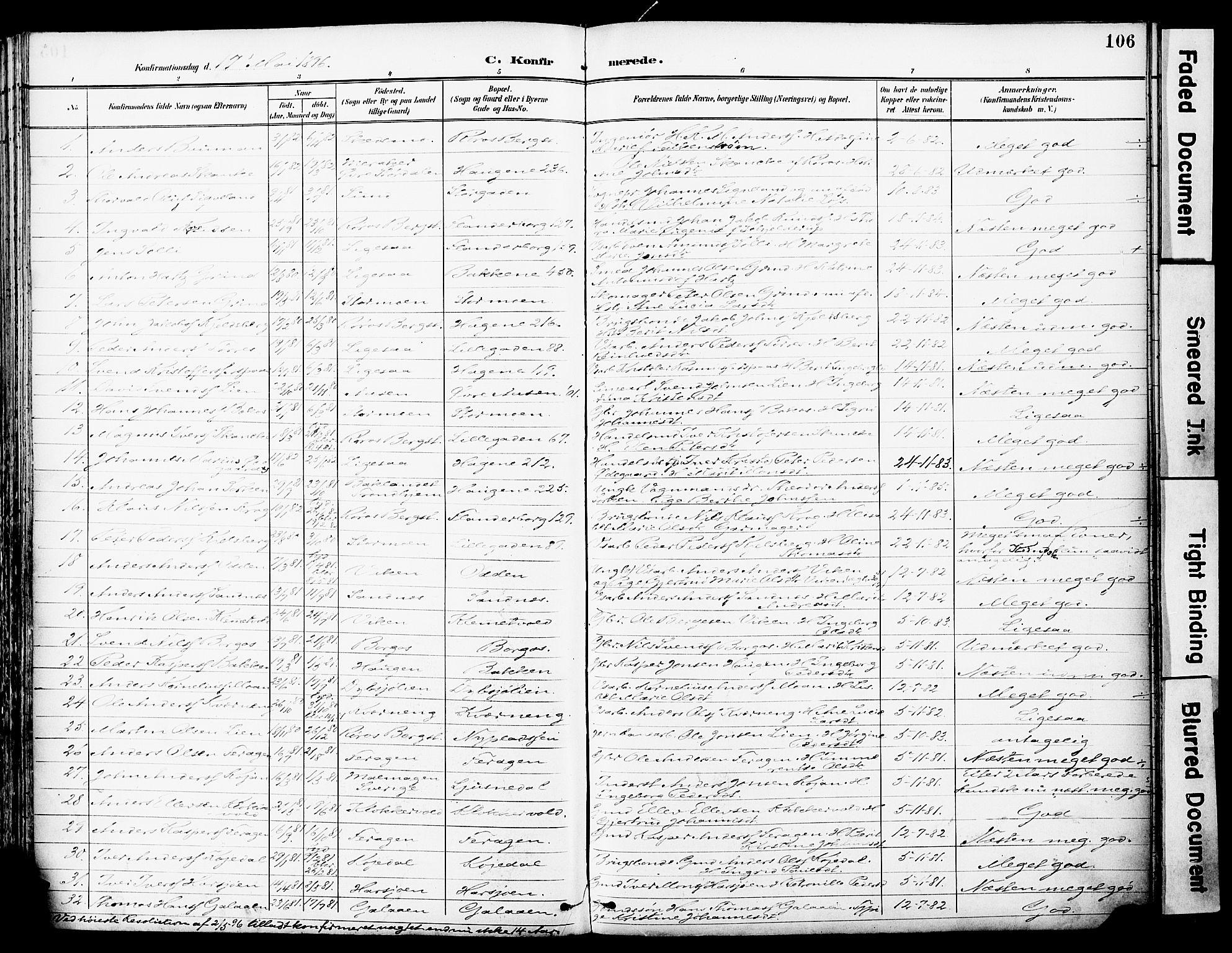 SAT, Ministerialprotokoller, klokkerbøker og fødselsregistre - Sør-Trøndelag, 681/L0935: Ministerialbok nr. 681A13, 1890-1898, s. 106