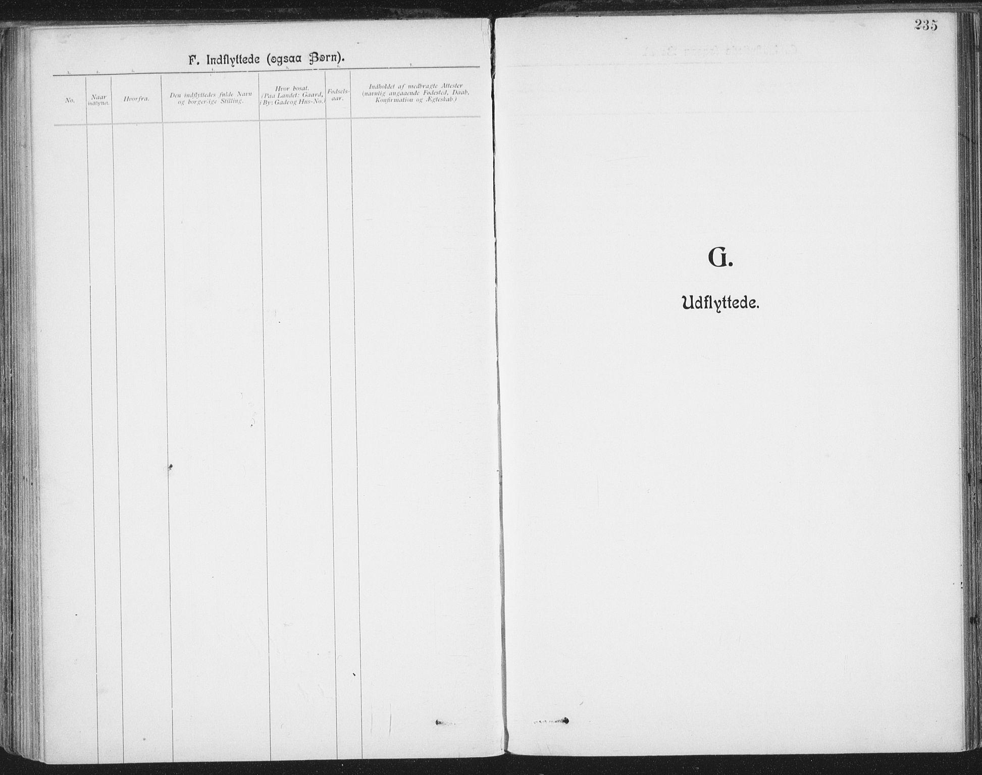 SAT, Ministerialprotokoller, klokkerbøker og fødselsregistre - Nordland, 801/L0012: Ministerialbok nr. 801A12, 1900-1916, s. 235