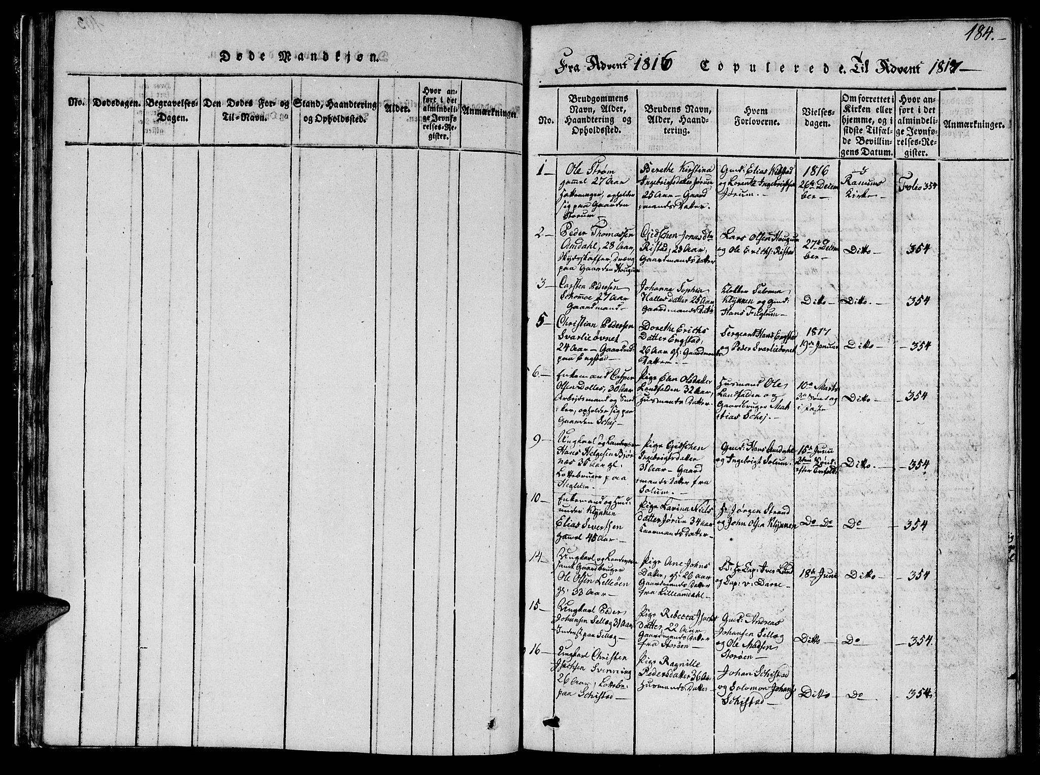 SAT, Ministerialprotokoller, klokkerbøker og fødselsregistre - Nord-Trøndelag, 764/L0559: Klokkerbok nr. 764C01, 1816-1824, s. 184