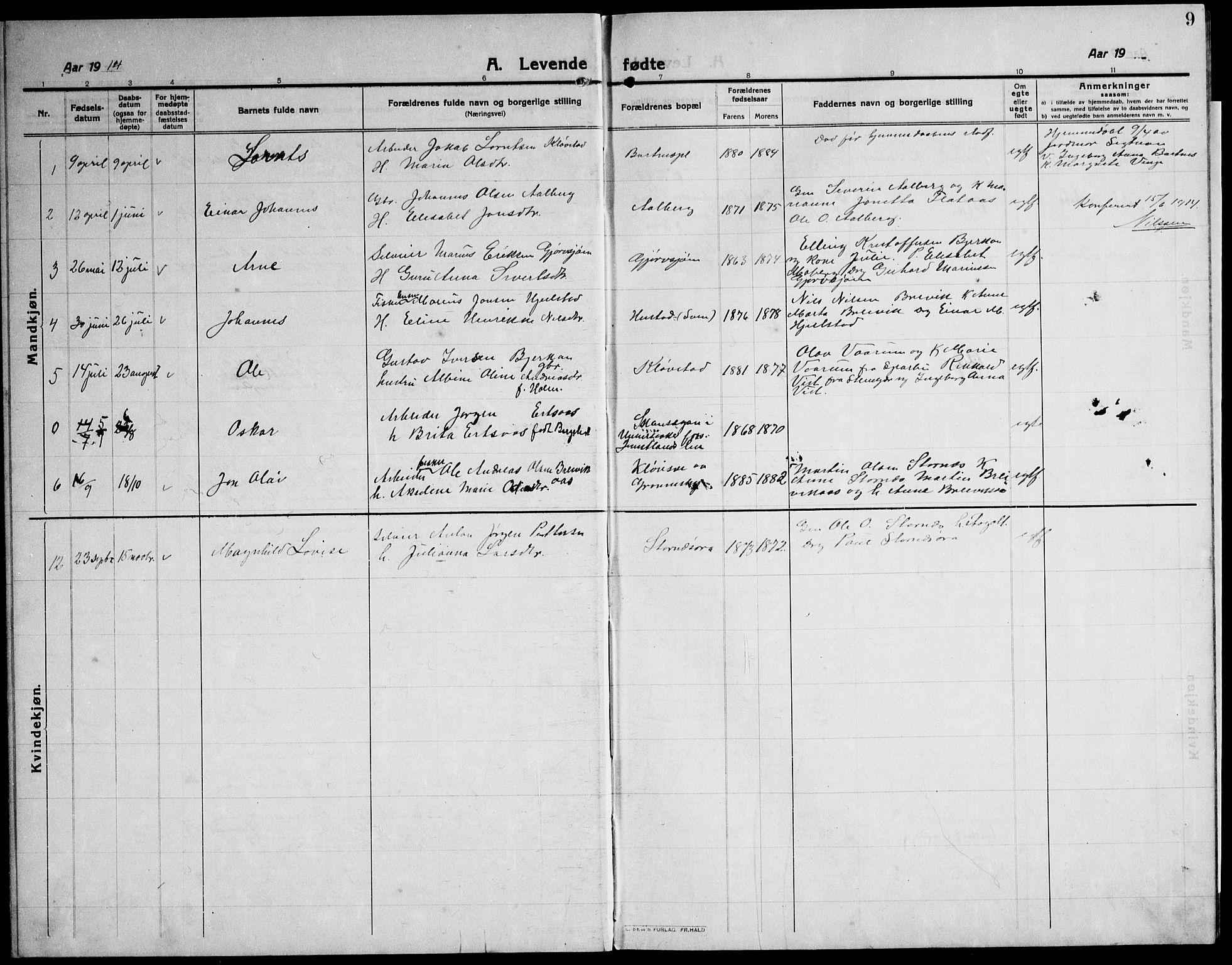 SAT, Ministerialprotokoller, klokkerbøker og fødselsregistre - Nord-Trøndelag, 732/L0319: Klokkerbok nr. 732C03, 1911-1945, s. 9