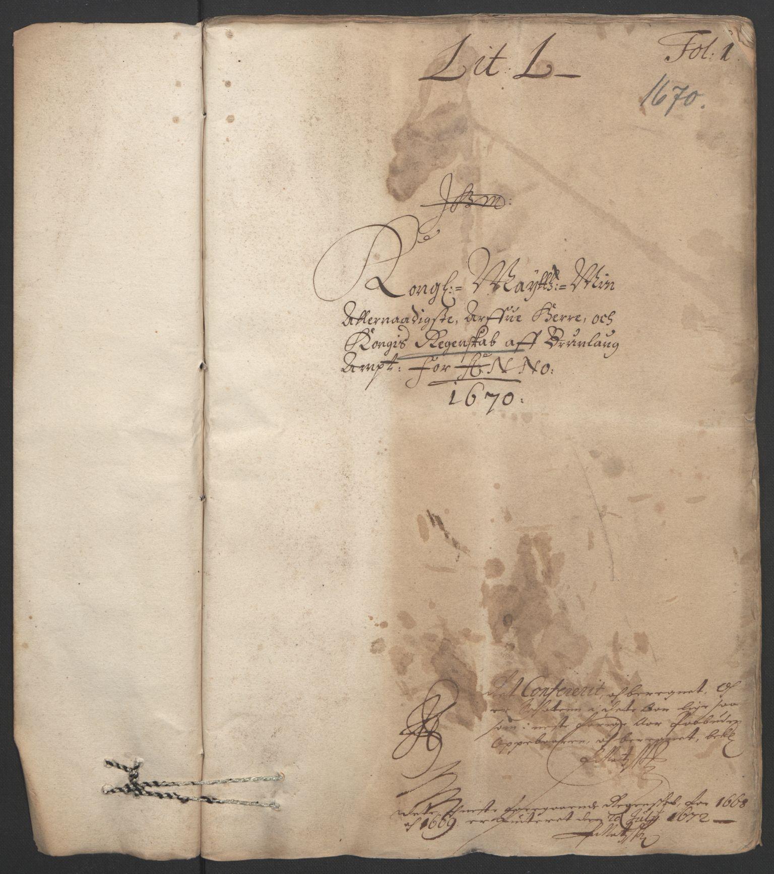 RA, Rentekammeret inntil 1814, Reviderte regnskaper, Fogderegnskap, R33/L1965: Fogderegnskap Larvik grevskap, 1669-1670, s. 116