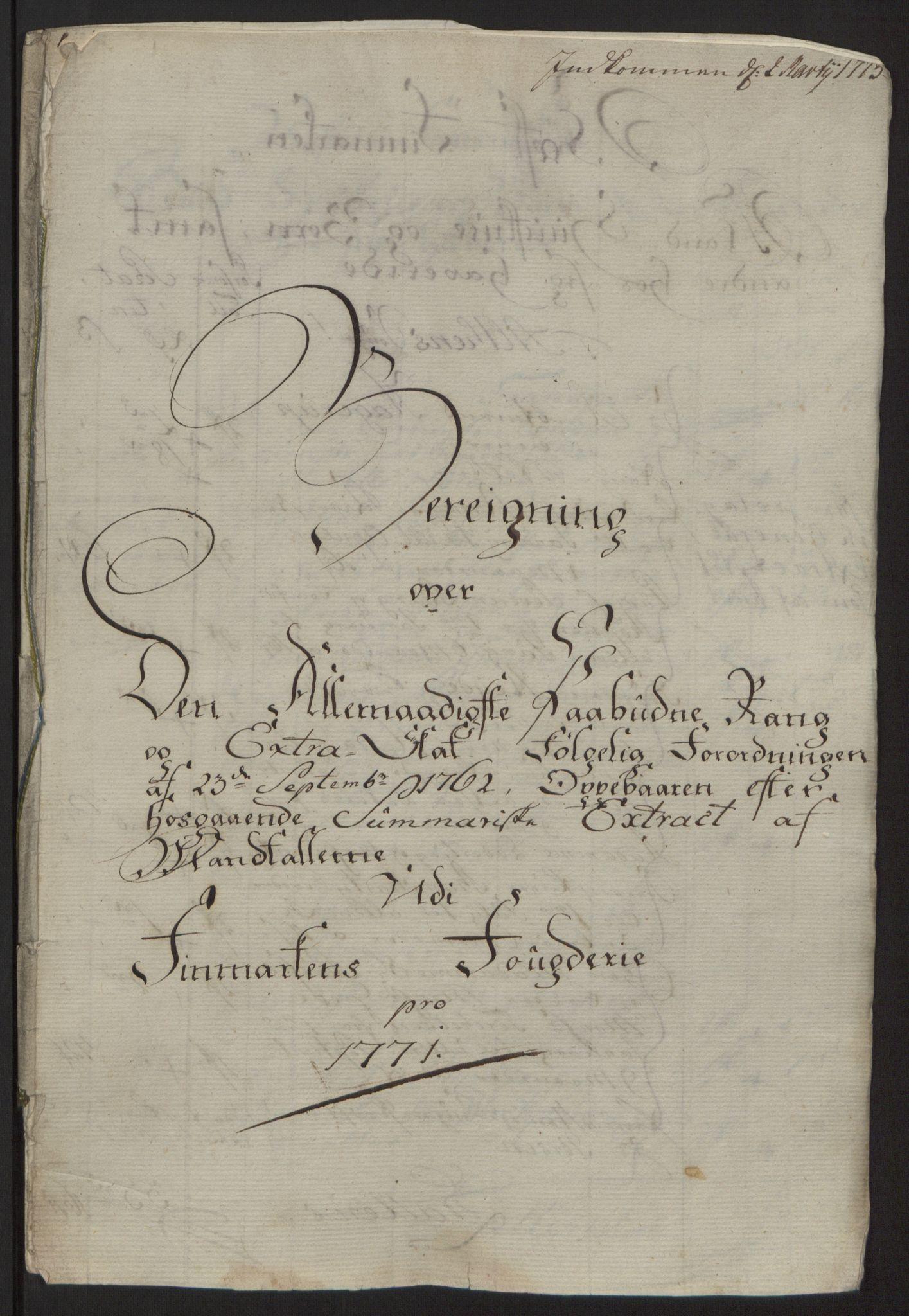 RA, Rentekammeret inntil 1814, Reviderte regnskaper, Fogderegnskap, R69/L4910: Ekstraskatten  Finnmark/Vardøhus, 1762-1772, s. 415