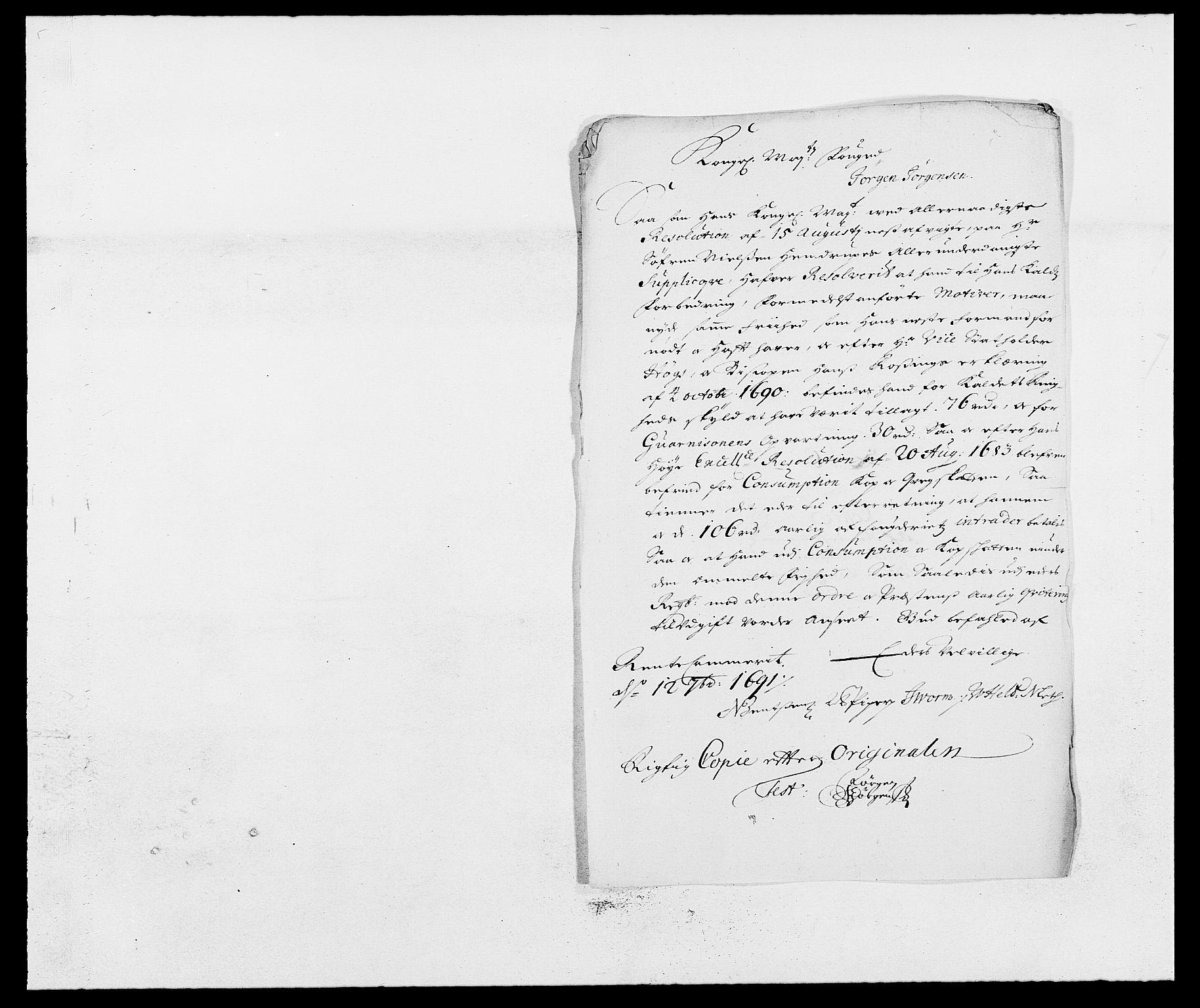 RA, Rentekammeret inntil 1814, Reviderte regnskaper, Fogderegnskap, R13/L0829: Fogderegnskap Solør, Odal og Østerdal, 1691, s. 47