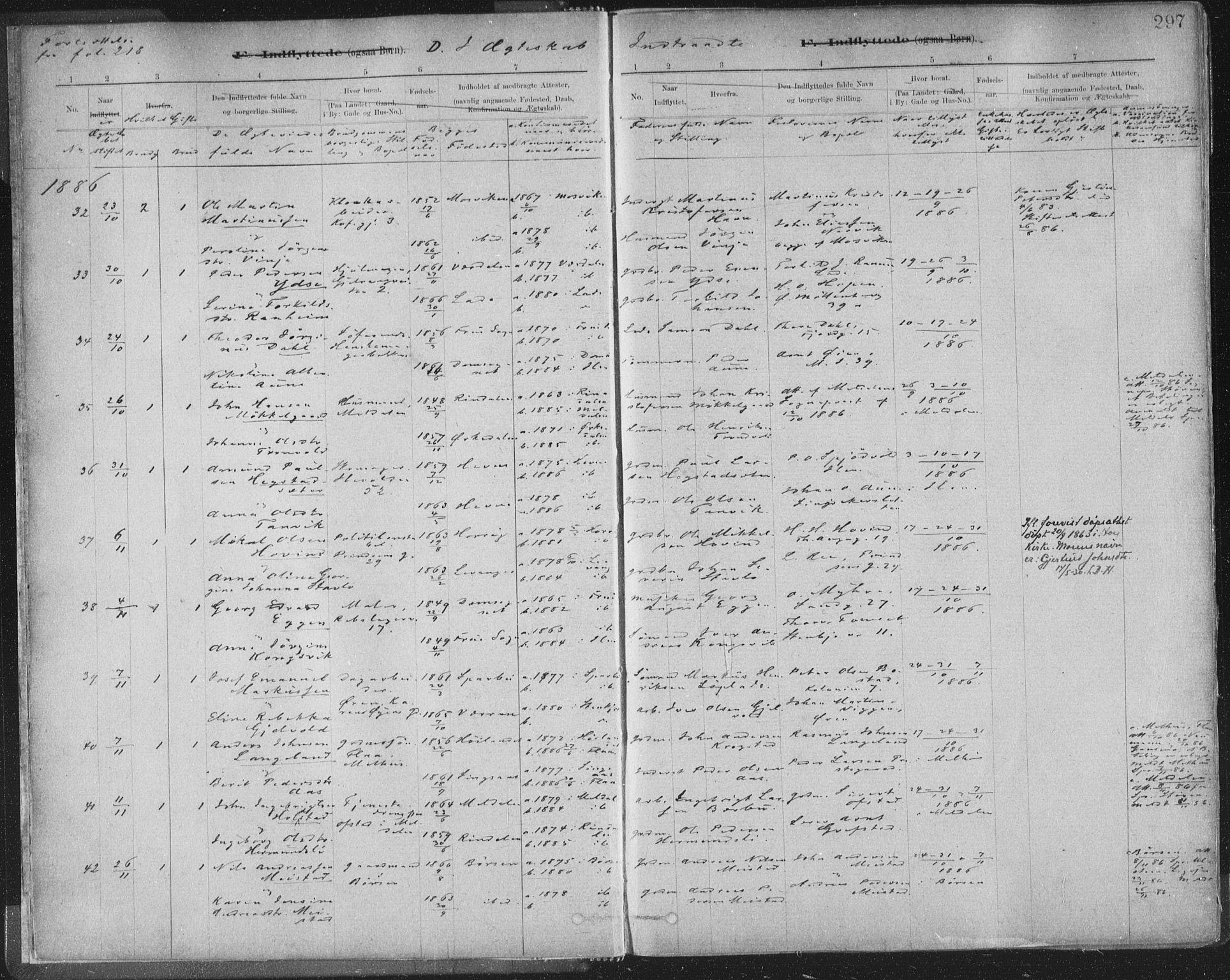 SAT, Ministerialprotokoller, klokkerbøker og fødselsregistre - Sør-Trøndelag, 603/L0163: Ministerialbok nr. 603A02, 1879-1895, s. 297