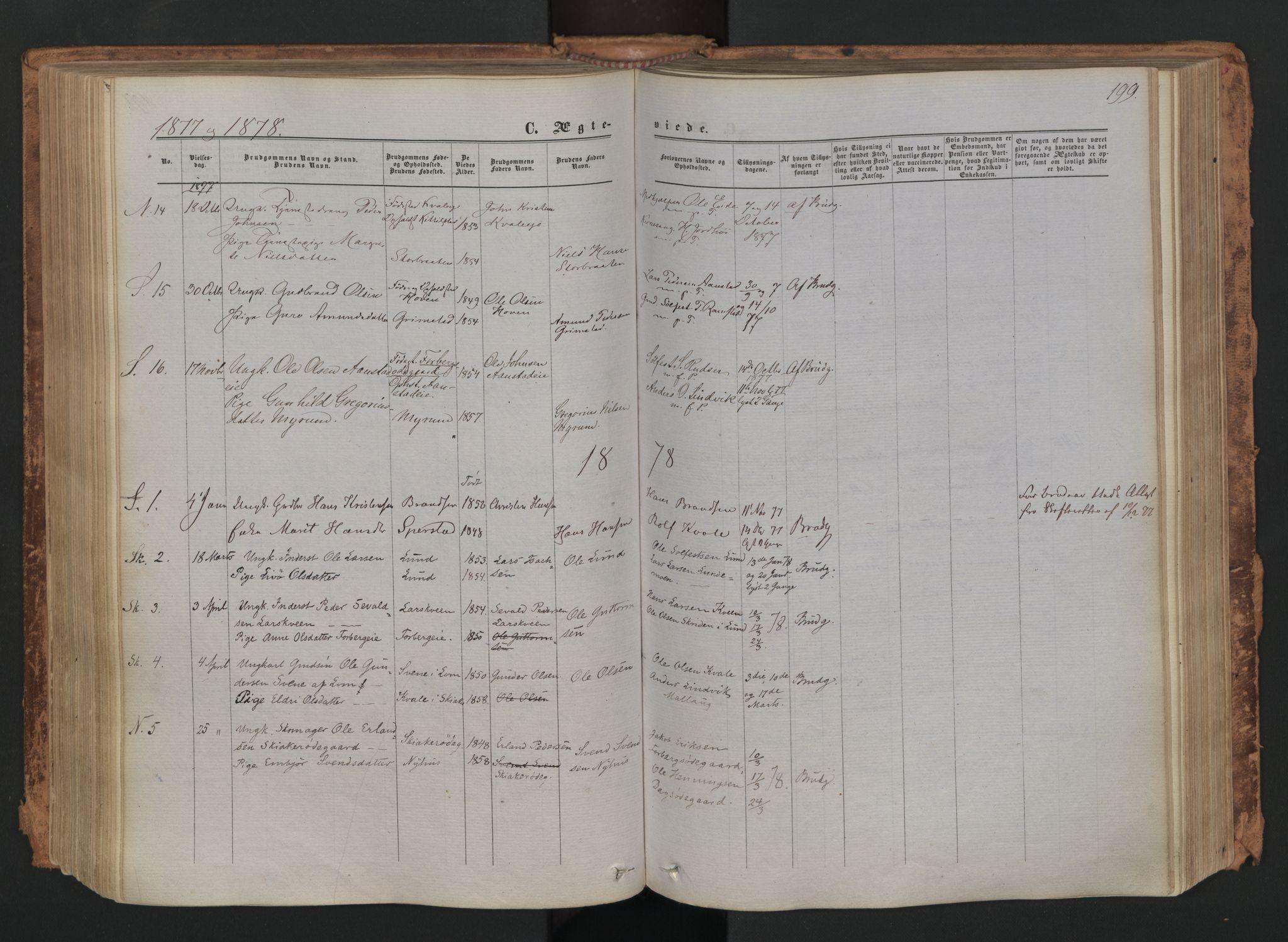 SAH, Skjåk prestekontor, Ministerialbok nr. 1, 1863-1879, s. 199