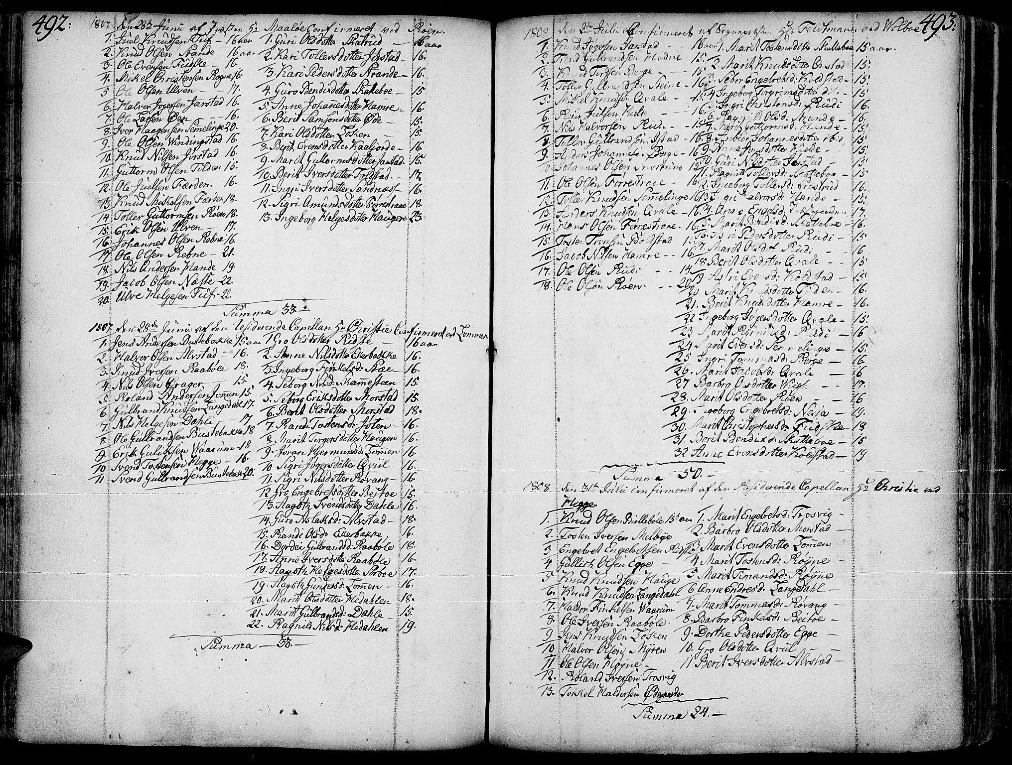 SAH, Slidre prestekontor, Ministerialbok nr. 1, 1724-1814, s. 492-493