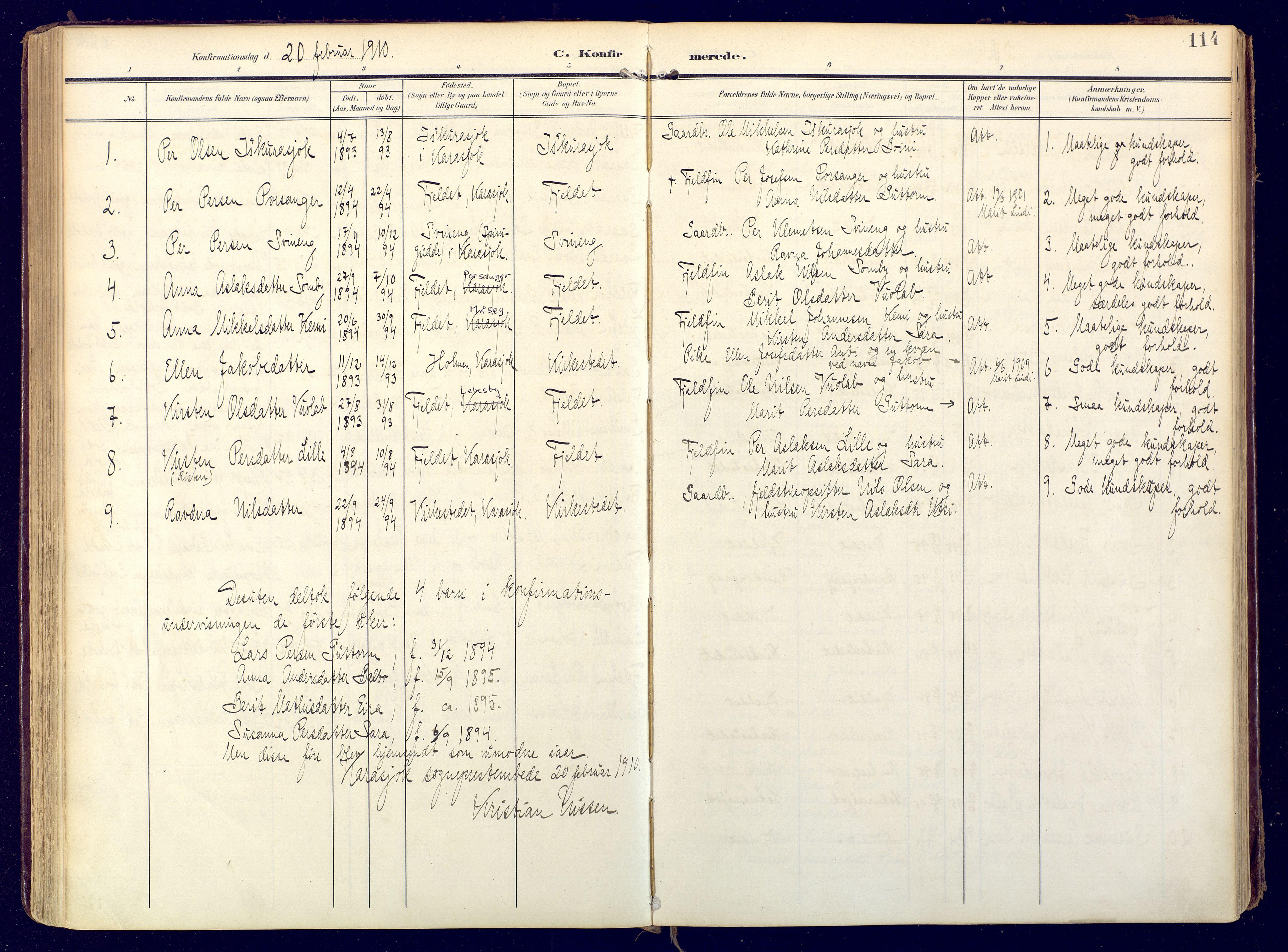SATØ, Karasjok sokneprestkontor, H/Ha: Ministerialbok nr. 3, 1907-1926, s. 114