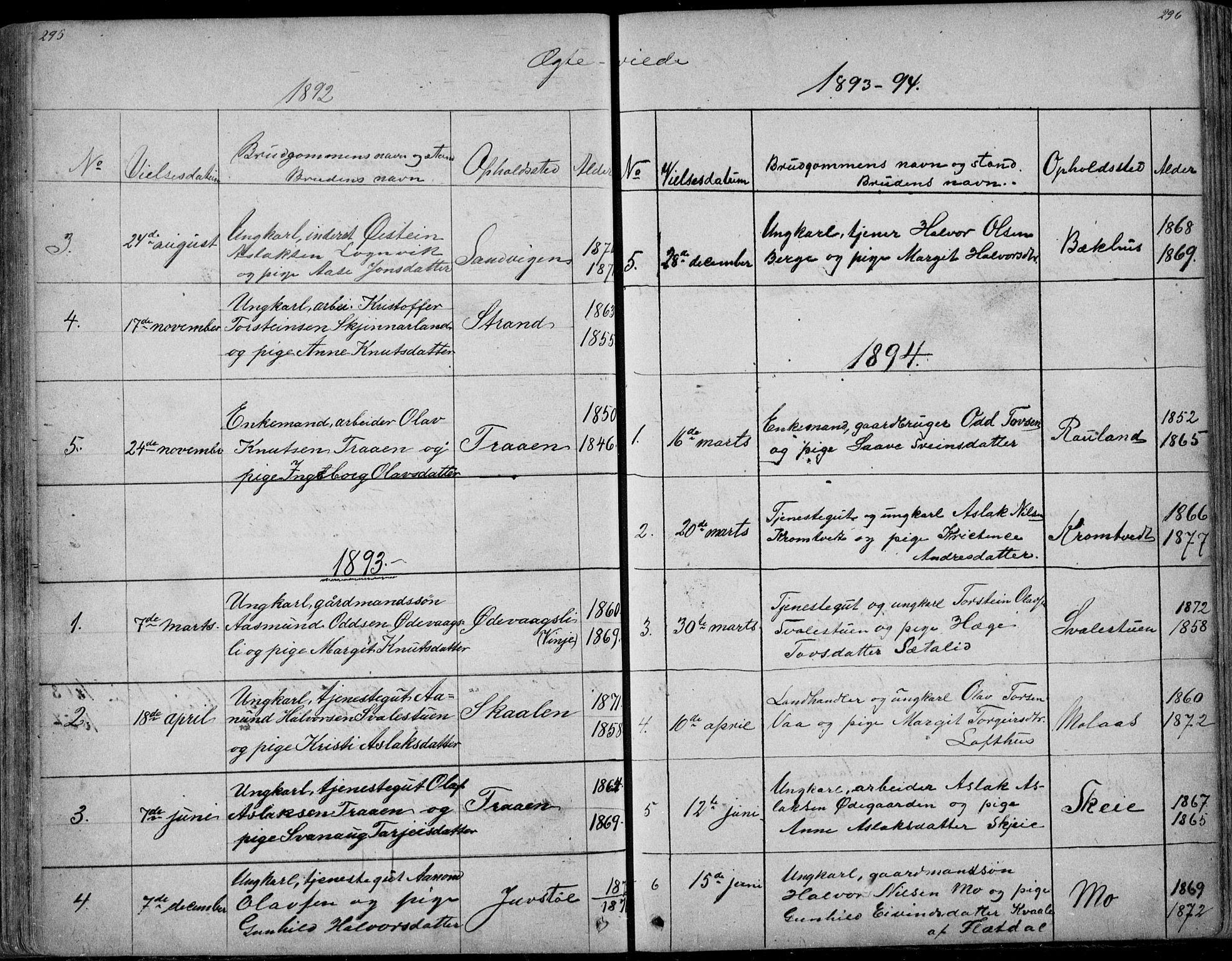 SAKO, Rauland kirkebøker, G/Ga/L0002: Klokkerbok nr. I 2, 1849-1935, s. 295-296