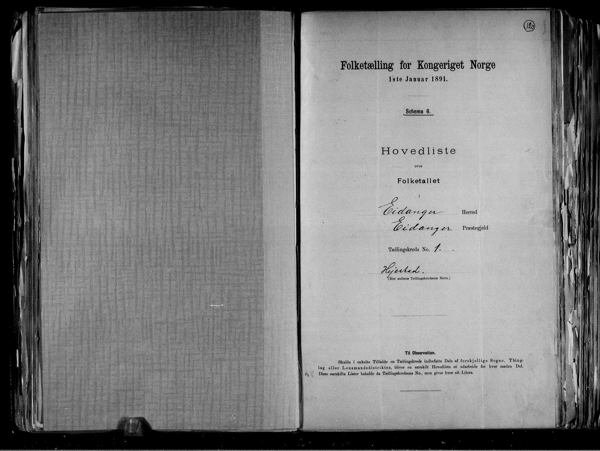 RA, Folketelling 1891 for 0813 Eidanger herred, 1891, s. 6