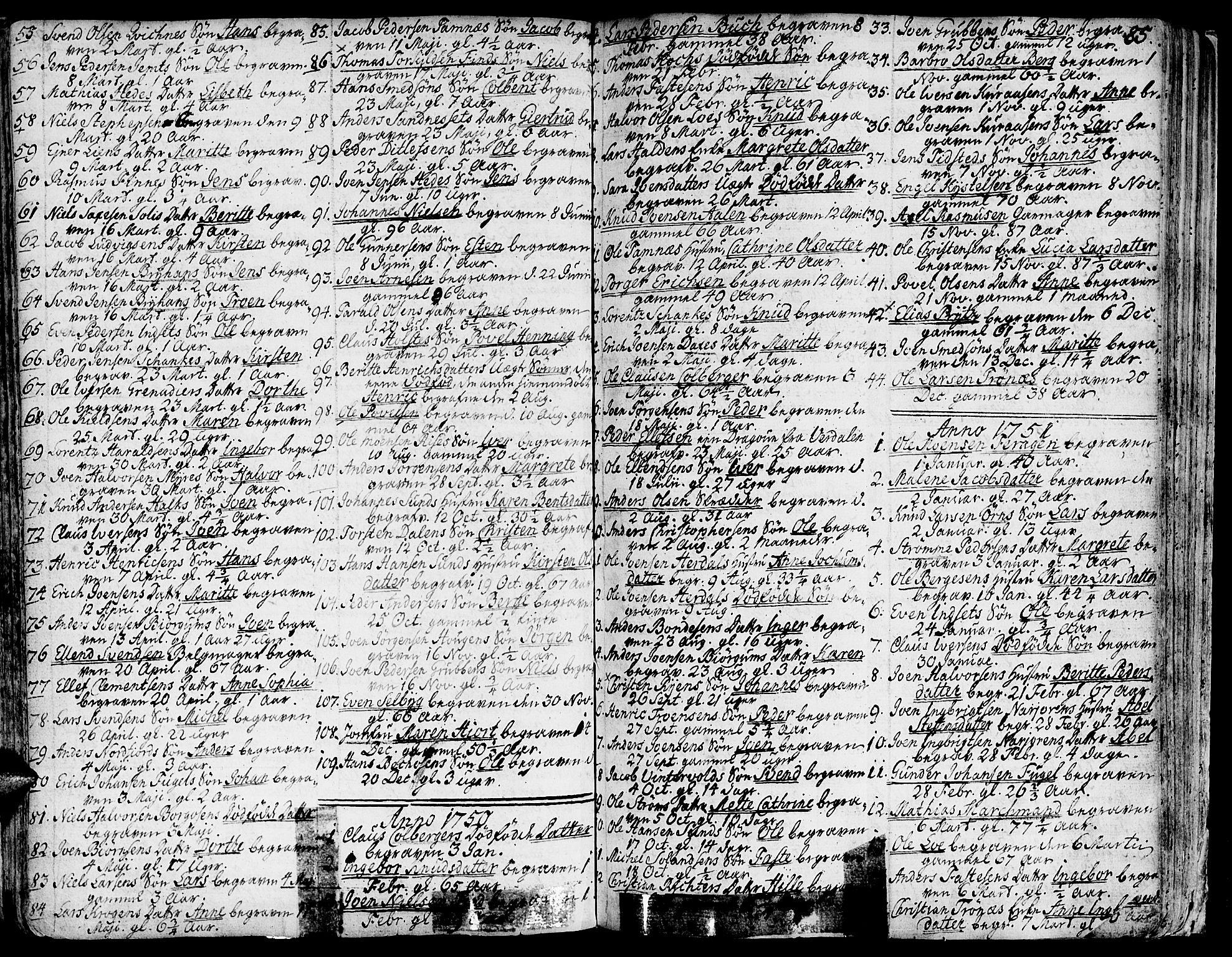 SAT, Ministerialprotokoller, klokkerbøker og fødselsregistre - Sør-Trøndelag, 681/L0925: Ministerialbok nr. 681A03, 1727-1766, s. 85
