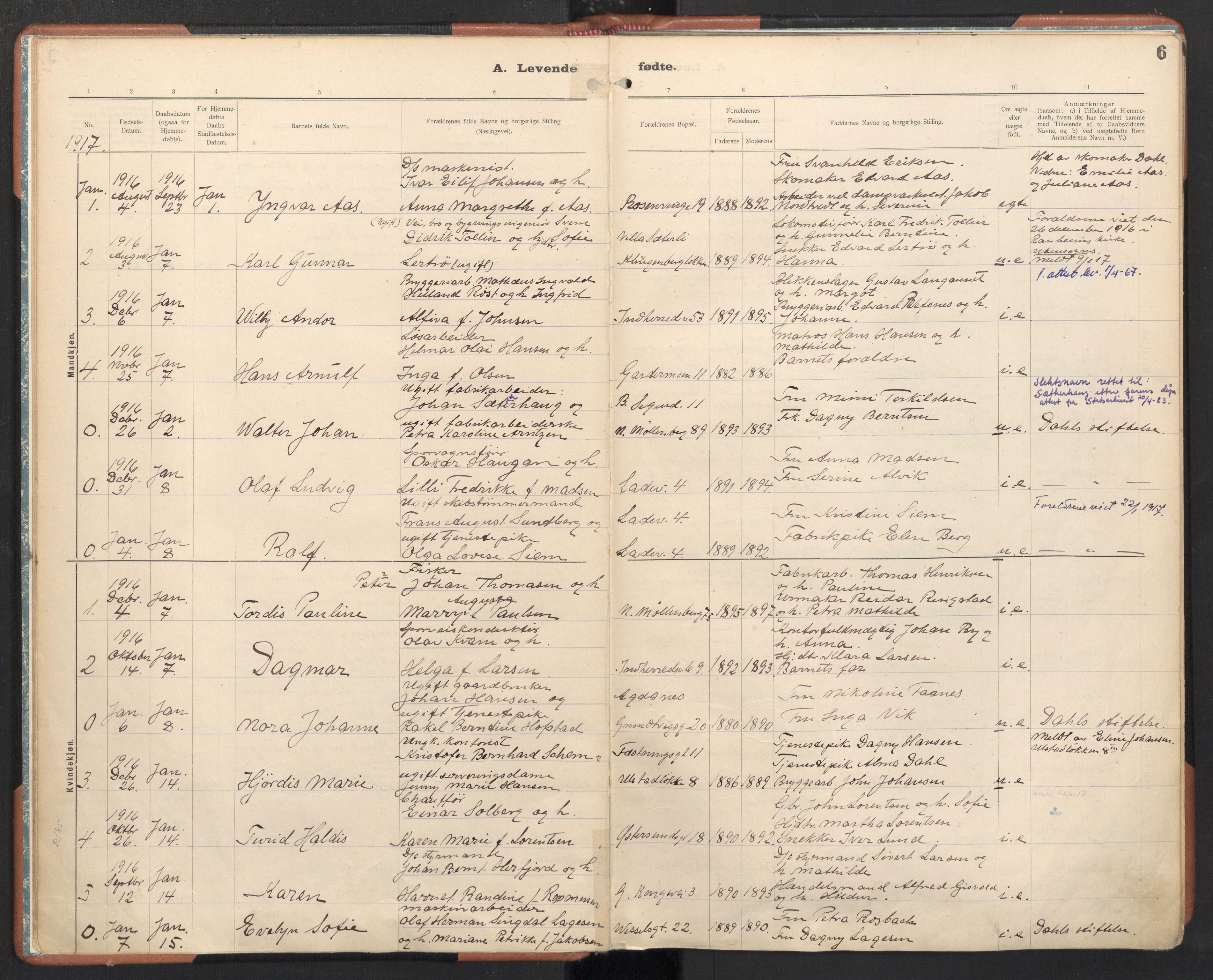 SAT, Ministerialprotokoller, klokkerbøker og fødselsregistre - Sør-Trøndelag, 605/L0246: Ministerialbok nr. 605A08, 1916-1920, s. 6