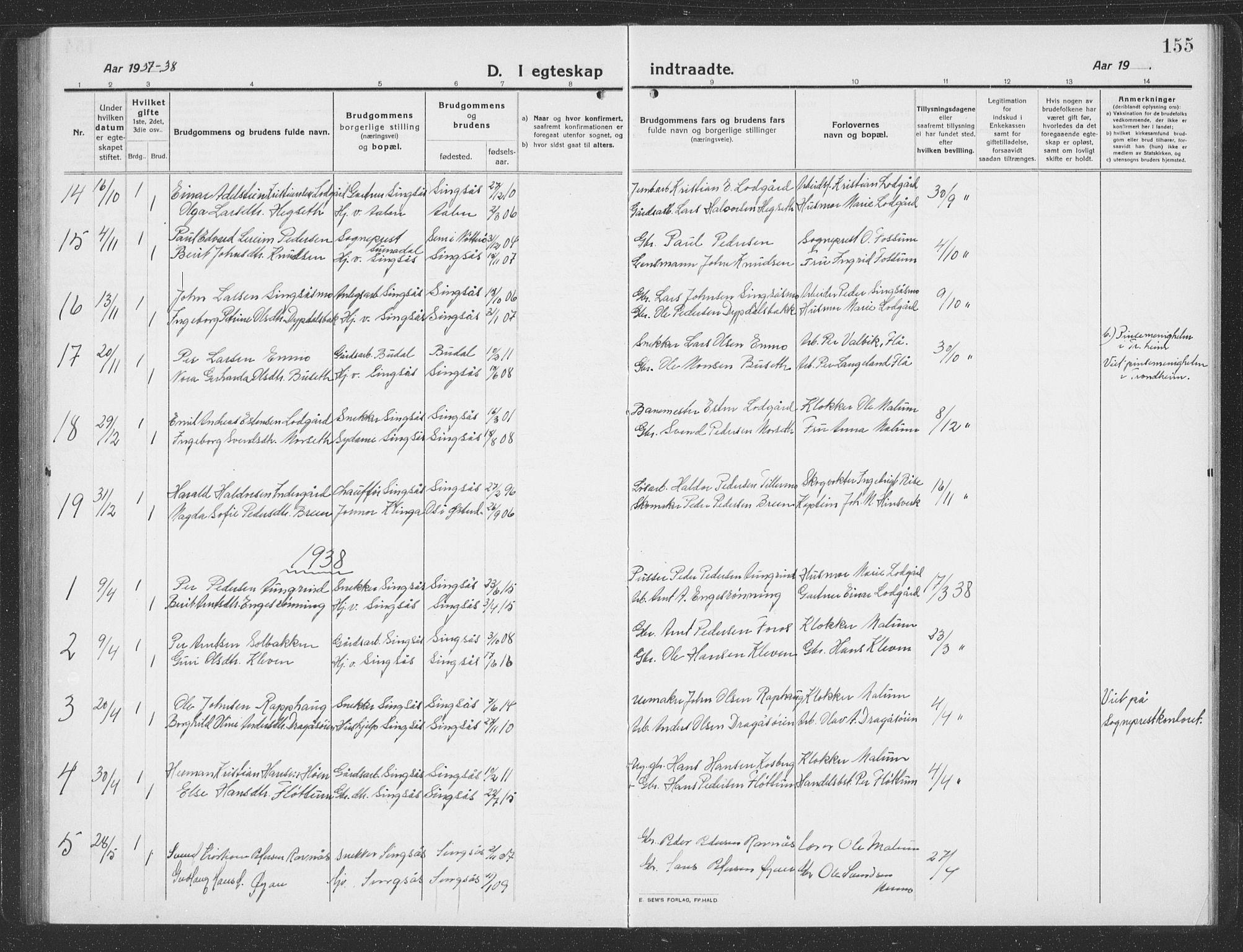 SAT, Ministerialprotokoller, klokkerbøker og fødselsregistre - Sør-Trøndelag, 688/L1030: Klokkerbok nr. 688C05, 1916-1939, s. 155