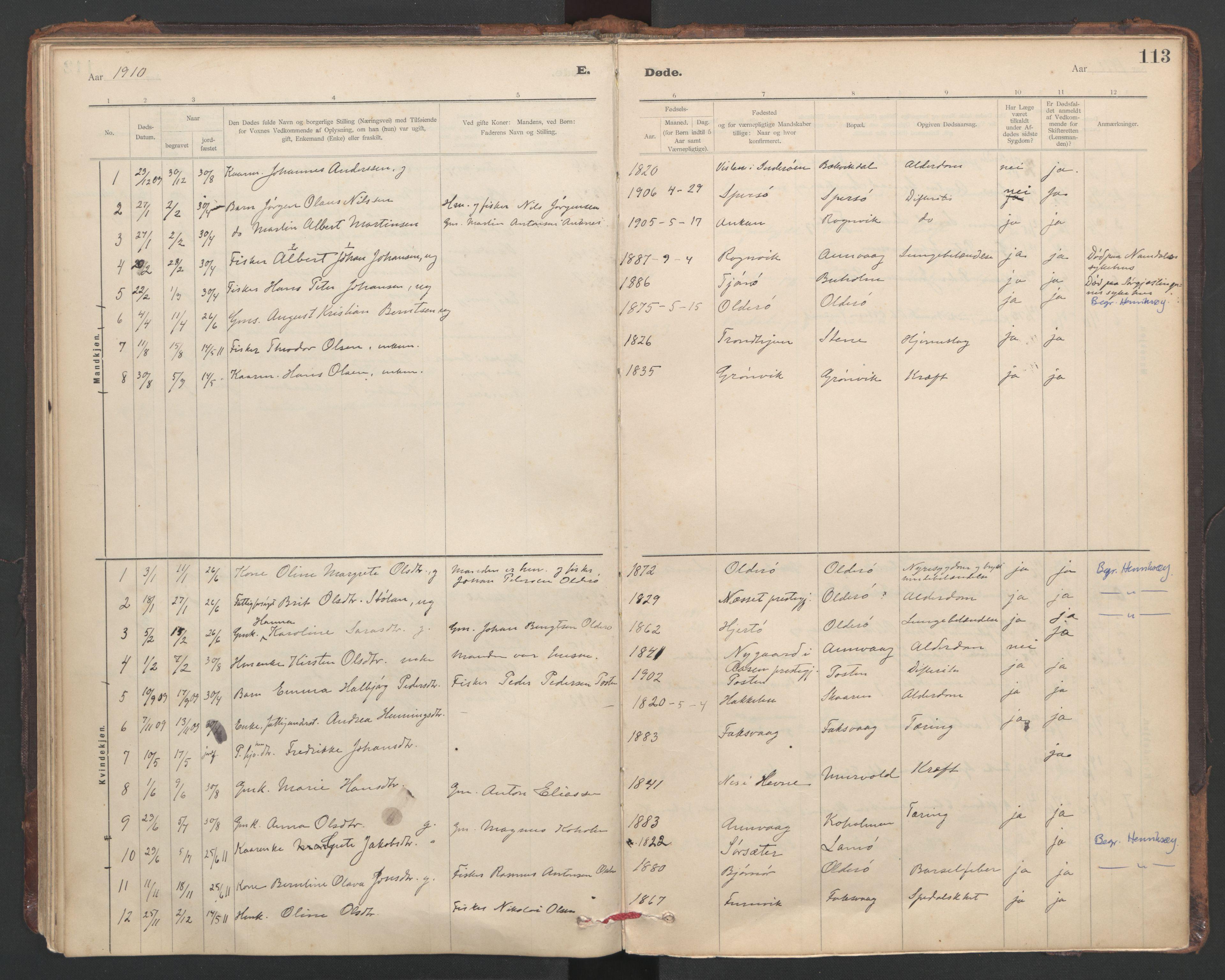 SAT, Ministerialprotokoller, klokkerbøker og fødselsregistre - Sør-Trøndelag, 635/L0552: Ministerialbok nr. 635A02, 1899-1919, s. 113