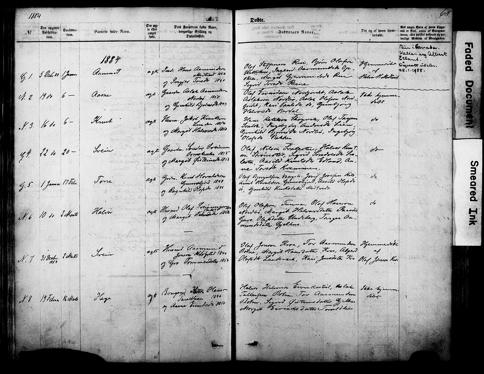 SAKO, Vinje kirkebøker, F/Fa/L0005: Ministerialbok nr. I 5, 1870-1886, s. 68