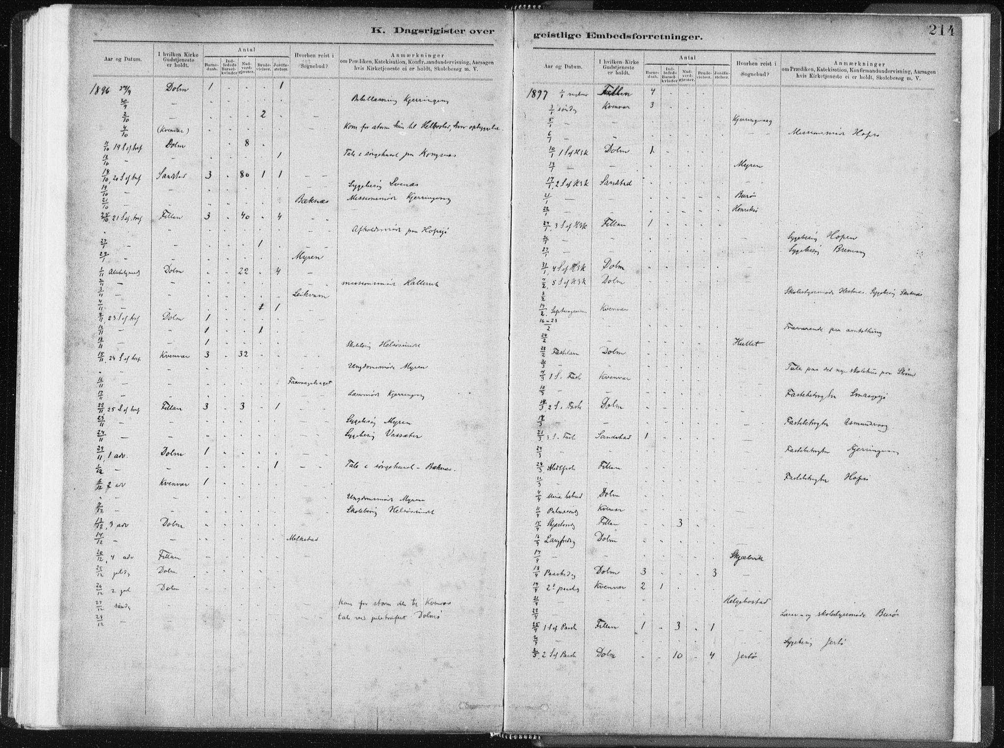 SAT, Ministerialprotokoller, klokkerbøker og fødselsregistre - Sør-Trøndelag, 634/L0533: Ministerialbok nr. 634A09, 1882-1901, s. 214