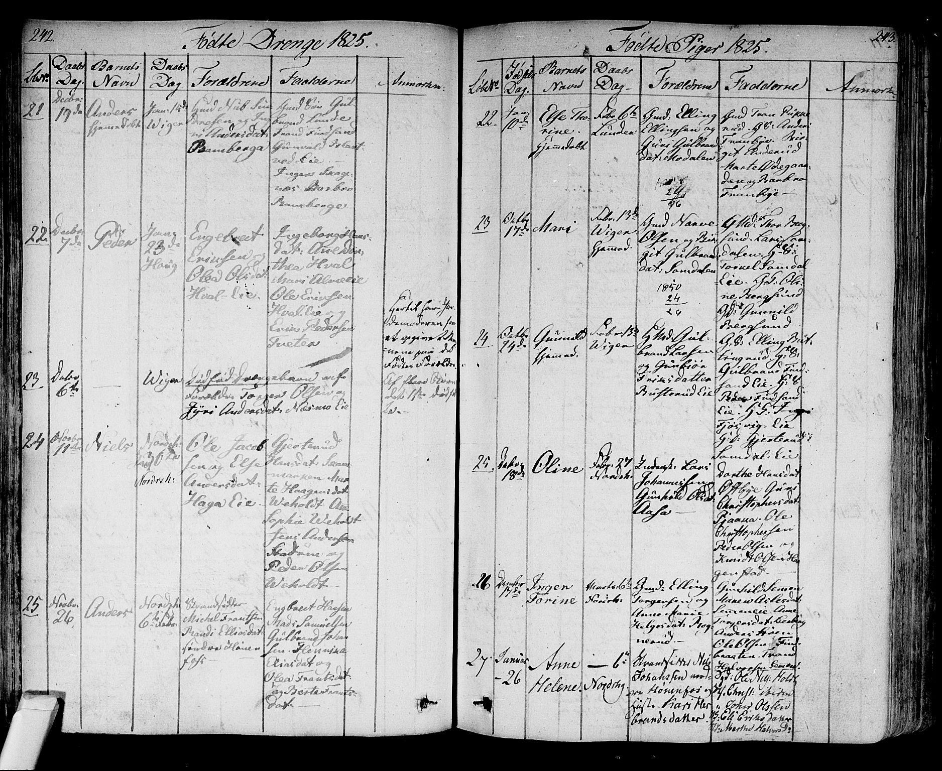 SAKO, Norderhov kirkebøker, F/Fa/L0009: Ministerialbok nr. 9, 1819-1837, s. 242-243