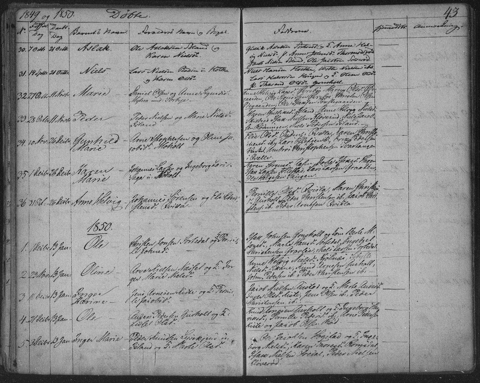 SAKO, Siljan kirkebøker, F/Fa/L0001: Ministerialbok nr. 1, 1831-1870, s. 43