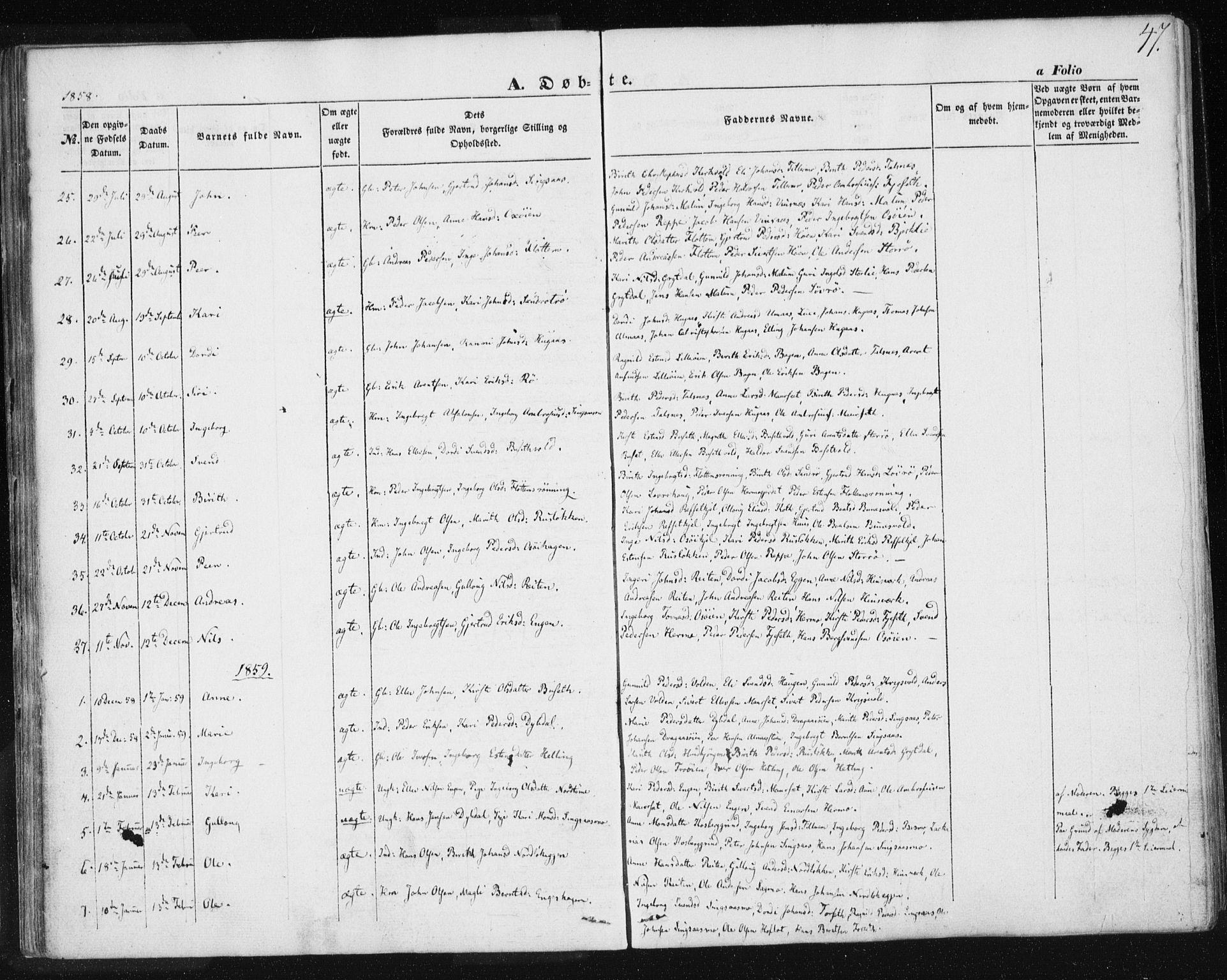 SAT, Ministerialprotokoller, klokkerbøker og fødselsregistre - Sør-Trøndelag, 685/L0964: Ministerialbok nr. 685A06 /2, 1846-1859, s. 47