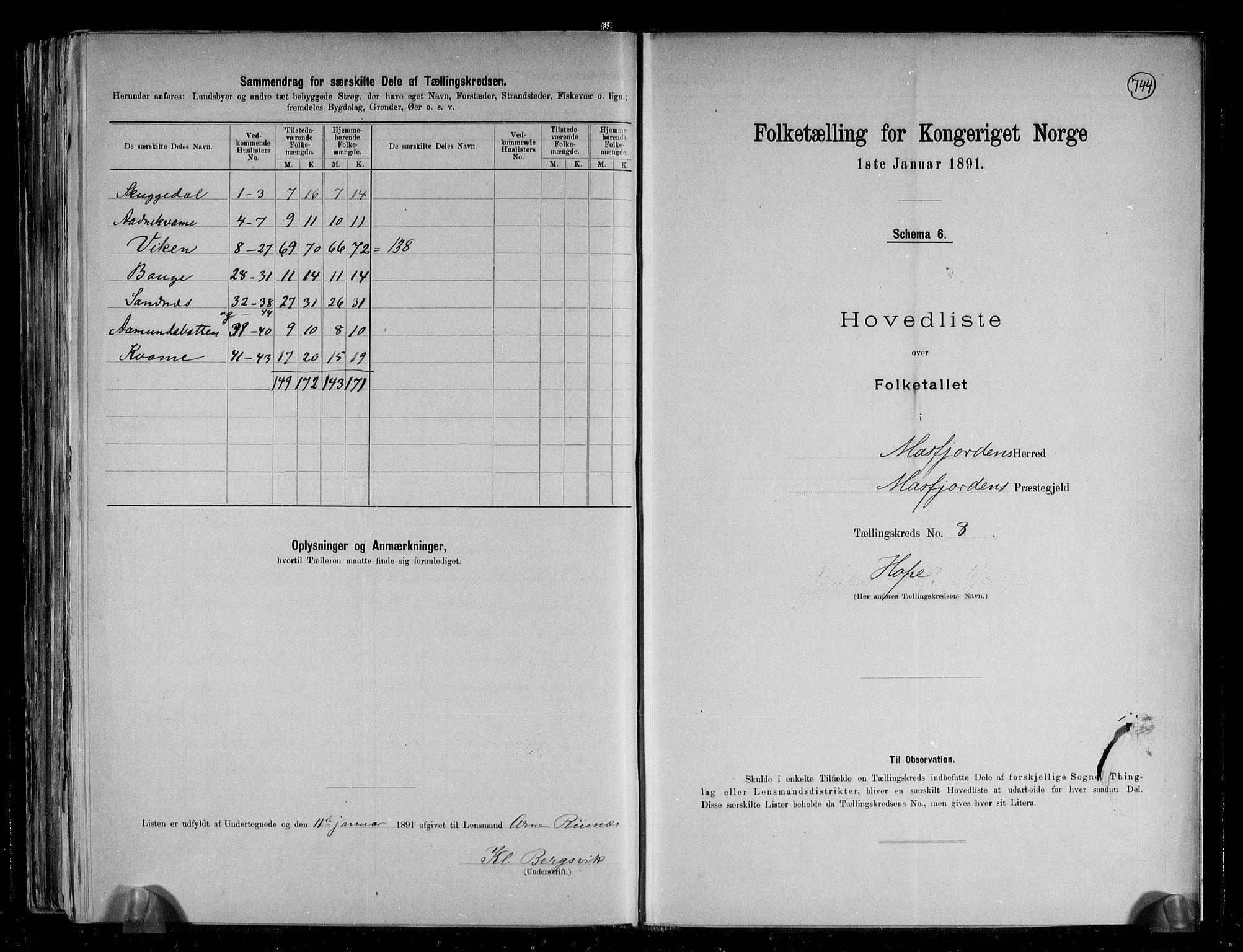 RA, Folketelling 1891 for 1266 Masfjorden herred, 1891, s. 19