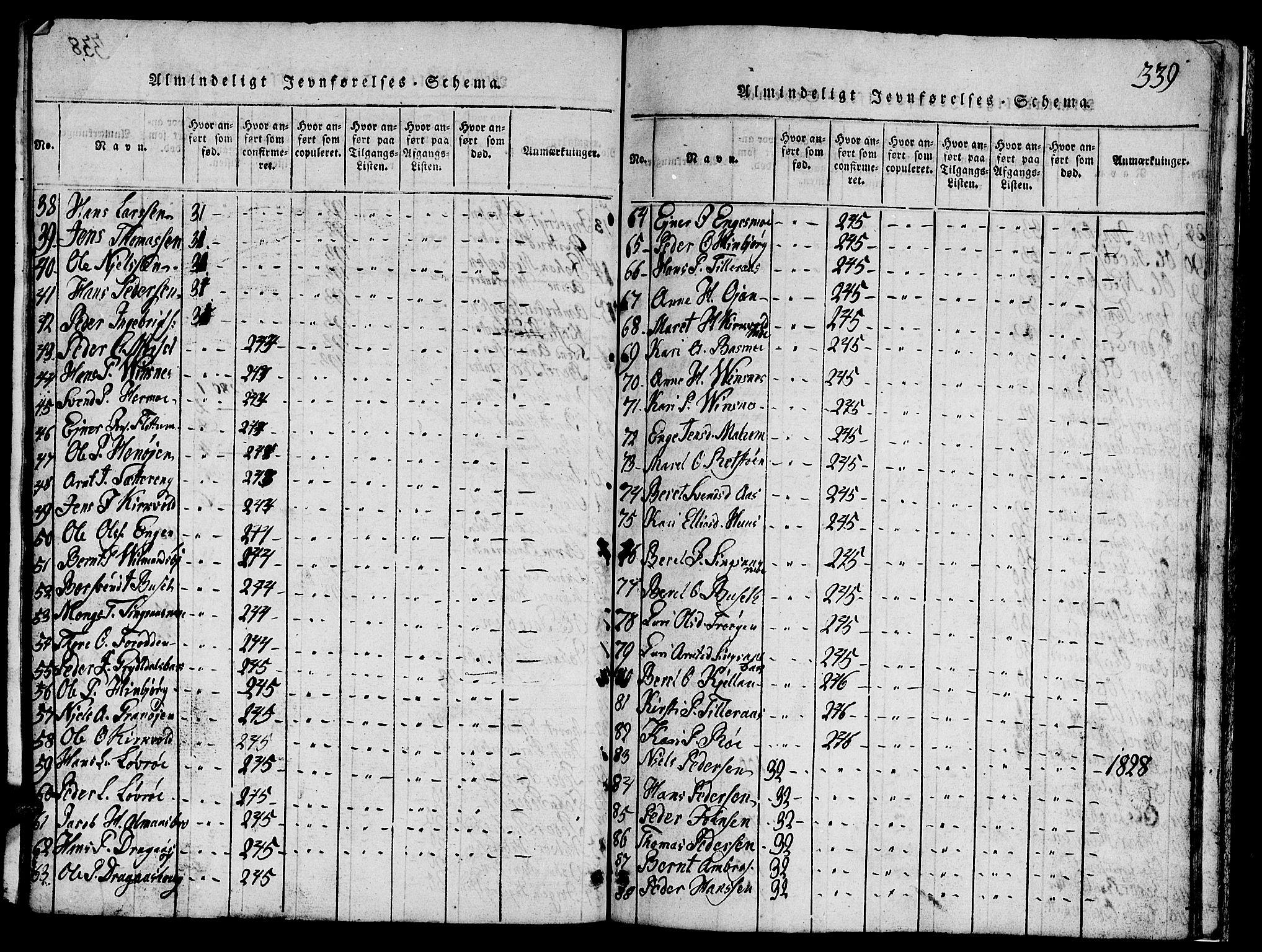 SAT, Ministerialprotokoller, klokkerbøker og fødselsregistre - Sør-Trøndelag, 688/L1026: Klokkerbok nr. 688C01, 1817-1860, s. 339