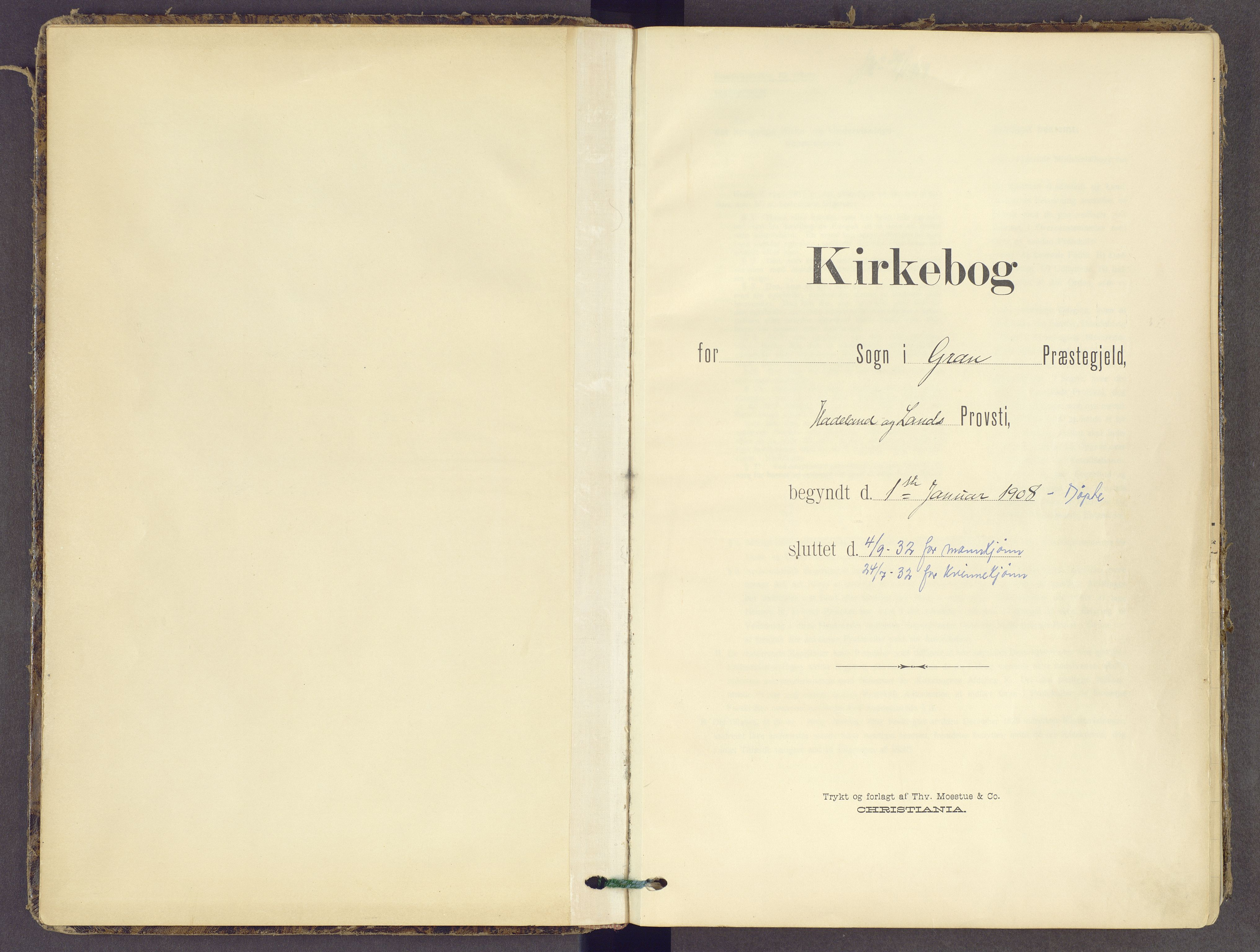 SAH, Gran prestekontor, Ministerialbok nr. 21, 1908-1932
