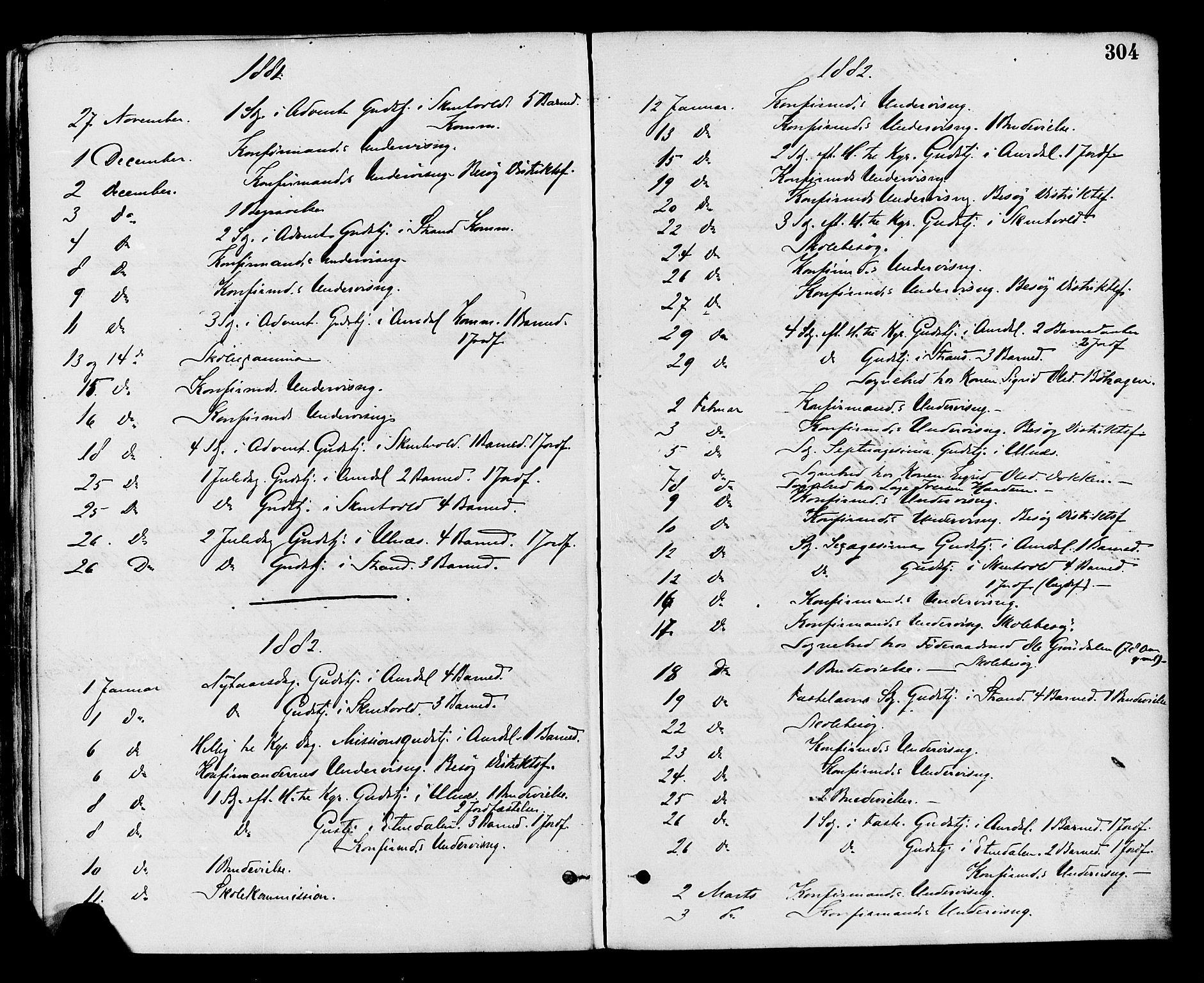 SAH, Nord-Aurdal prestekontor, Ministerialbok nr. 9, 1876-1882, s. 304