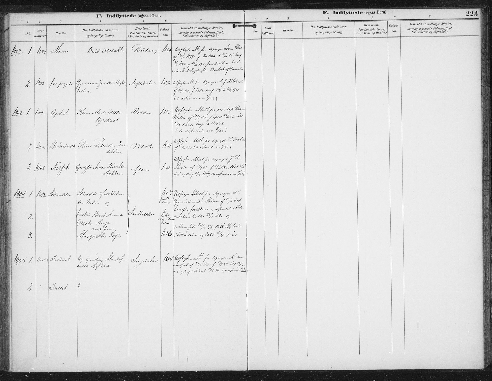 SAT, Ministerialprotokoller, klokkerbøker og fødselsregistre - Sør-Trøndelag, 674/L0872: Ministerialbok nr. 674A04, 1897-1907, s. 223