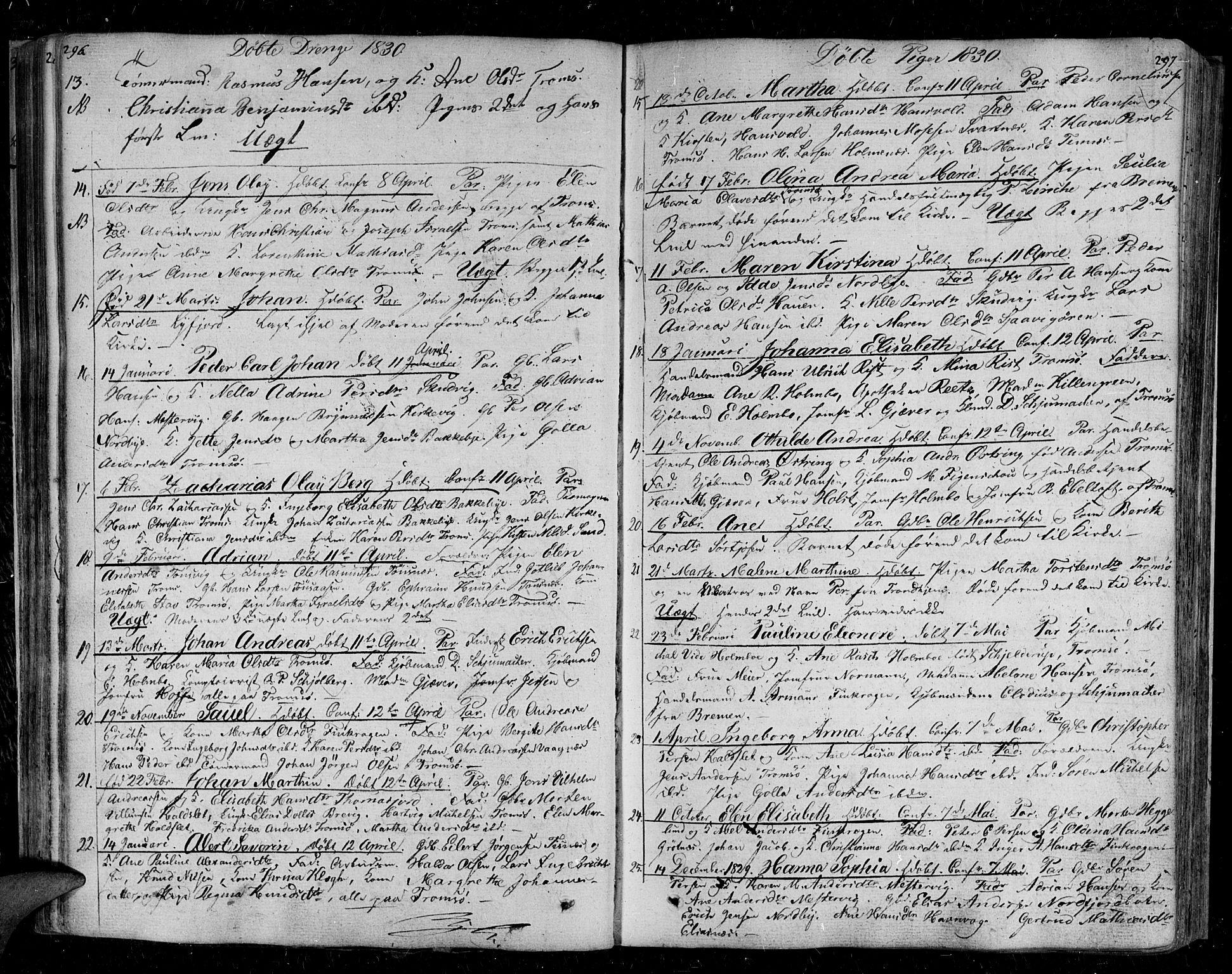 SATØ, Tromsø sokneprestkontor/stiftsprosti/domprosti, G/Ga/L0008kirke: Ministerialbok nr. 8, 1829-1837, s. 296-297
