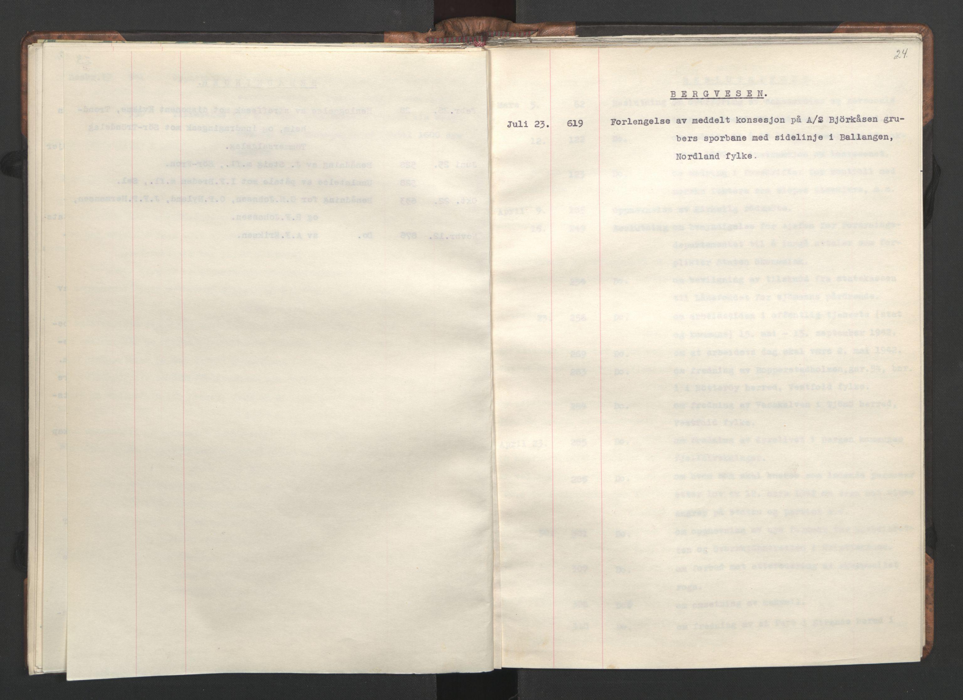 RA, NS-administrasjonen 1940-1945 (Statsrådsekretariatet, de kommisariske statsråder mm), D/Da/L0002: Register (RA j.nr. 985/1943, tilgangsnr. 17/1943), 1942, s. 23b-24a