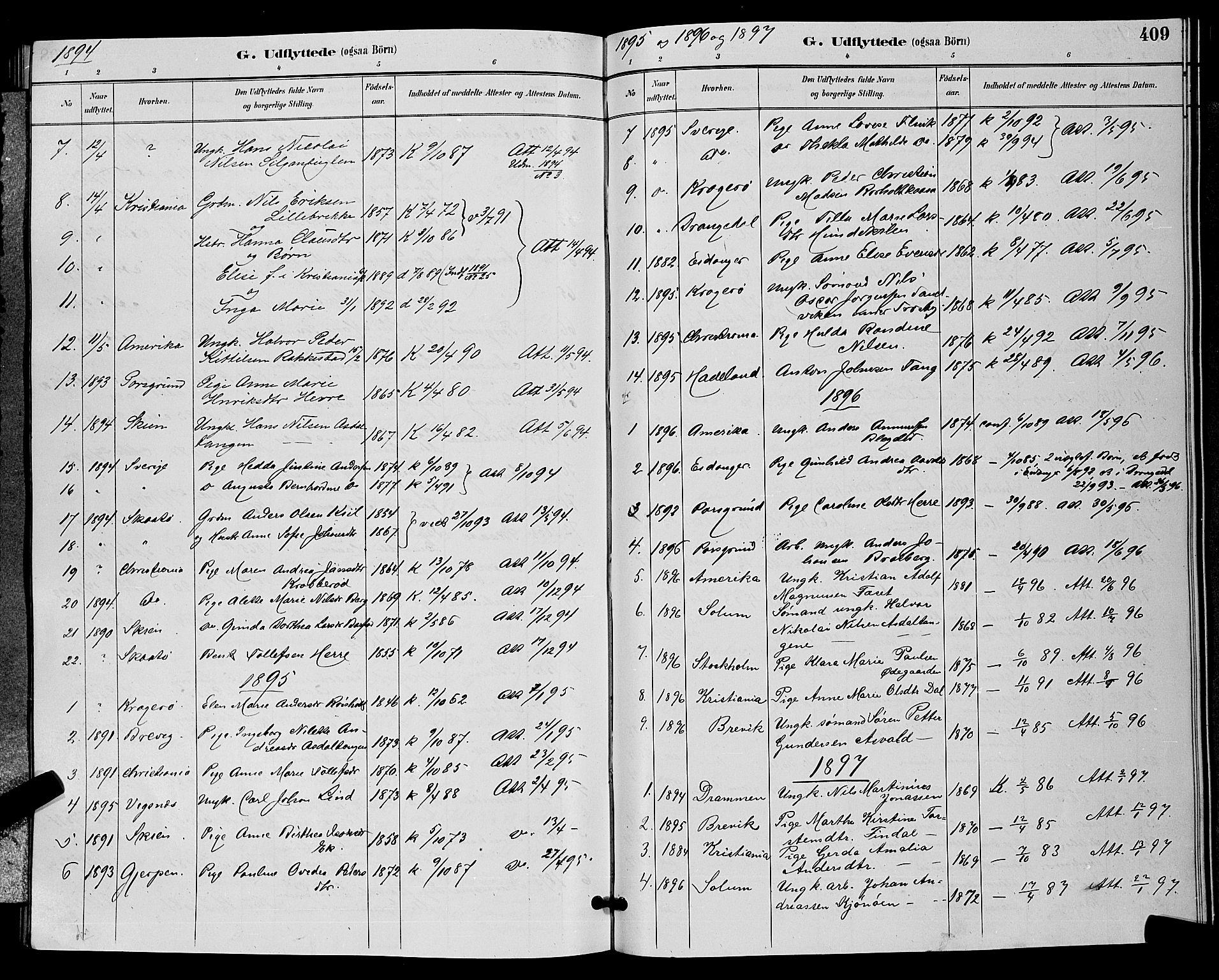 SAKO, Bamble kirkebøker, G/Ga/L0009: Klokkerbok nr. I 9, 1888-1900, s. 409