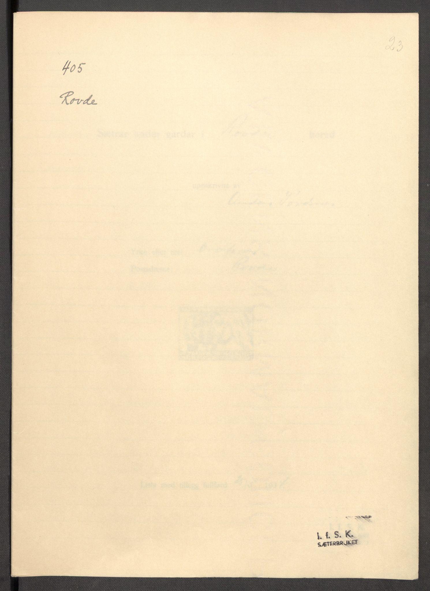 RA, Instituttet for sammenlignende kulturforskning, F/Fc/L0012: Eske B12:, 1934-1936, s. 23