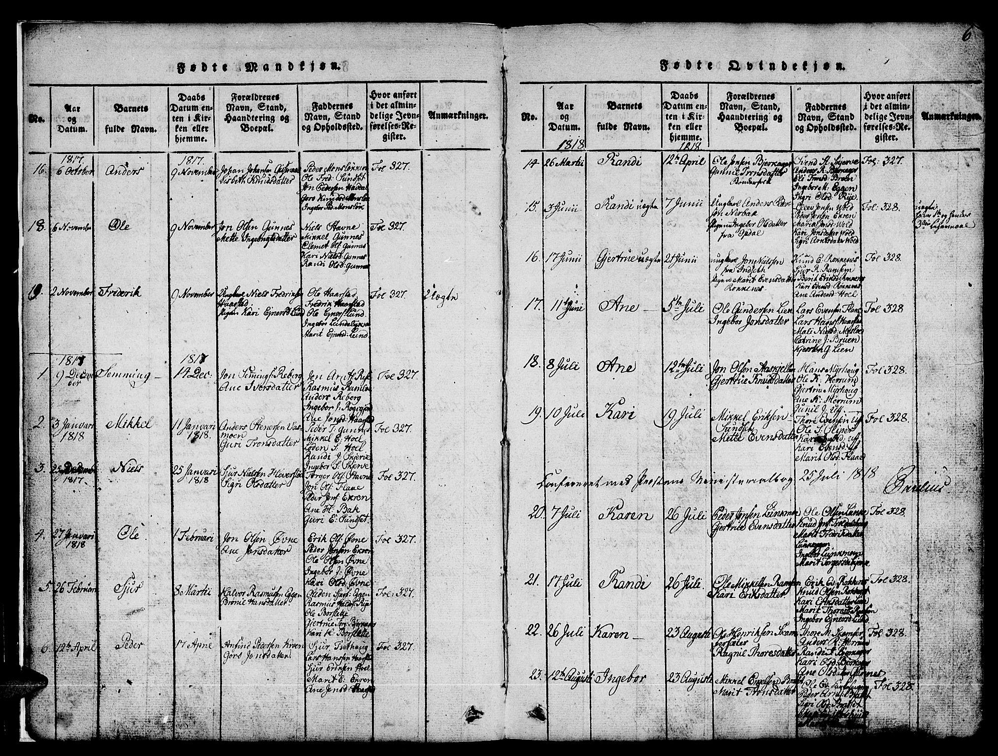 SAT, Ministerialprotokoller, klokkerbøker og fødselsregistre - Sør-Trøndelag, 674/L0874: Klokkerbok nr. 674C01, 1816-1860, s. 6