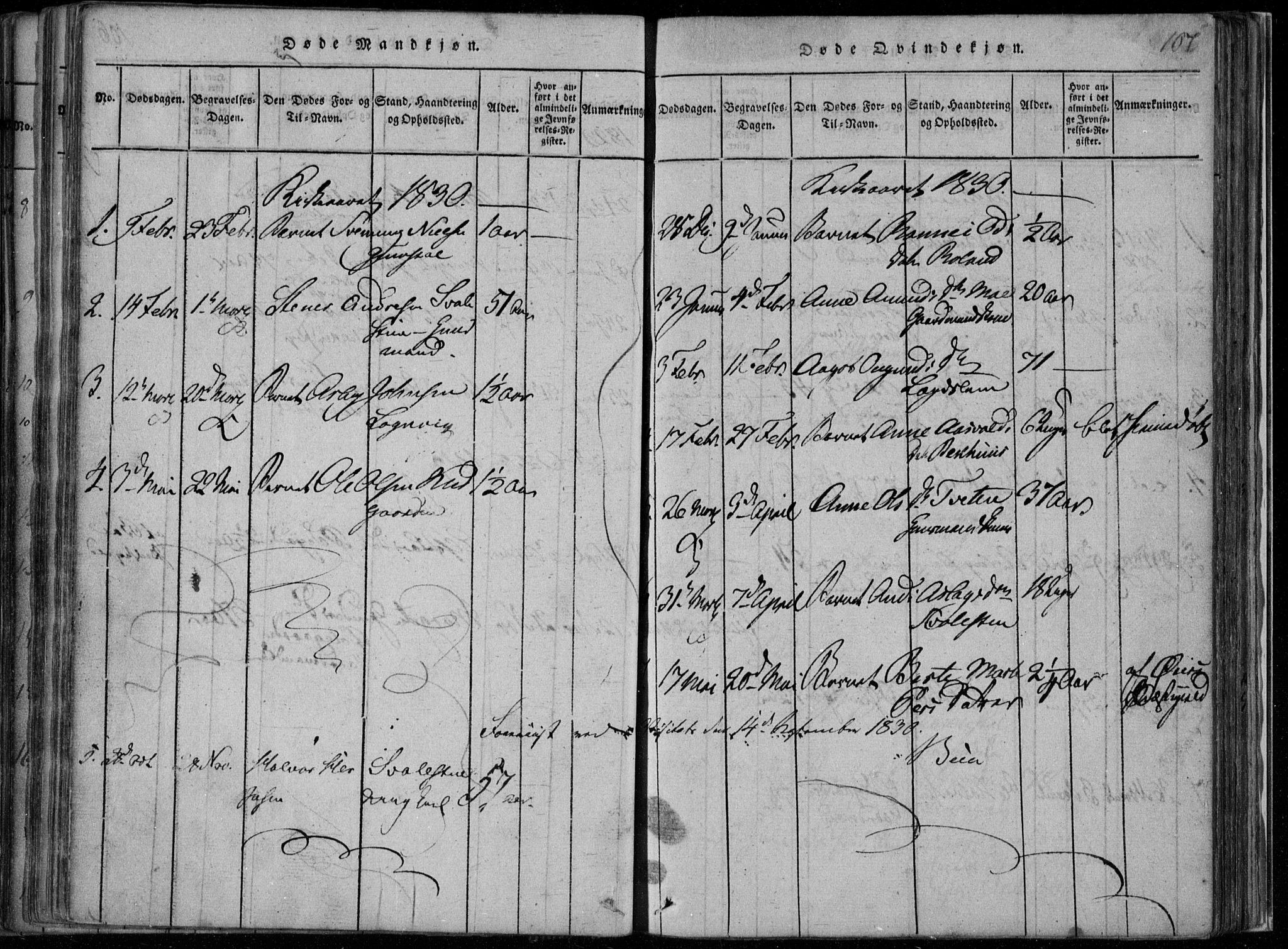 SAKO, Rauland kirkebøker, F/Fa/L0001: Ministerialbok nr. 1, 1814-1859, s. 107