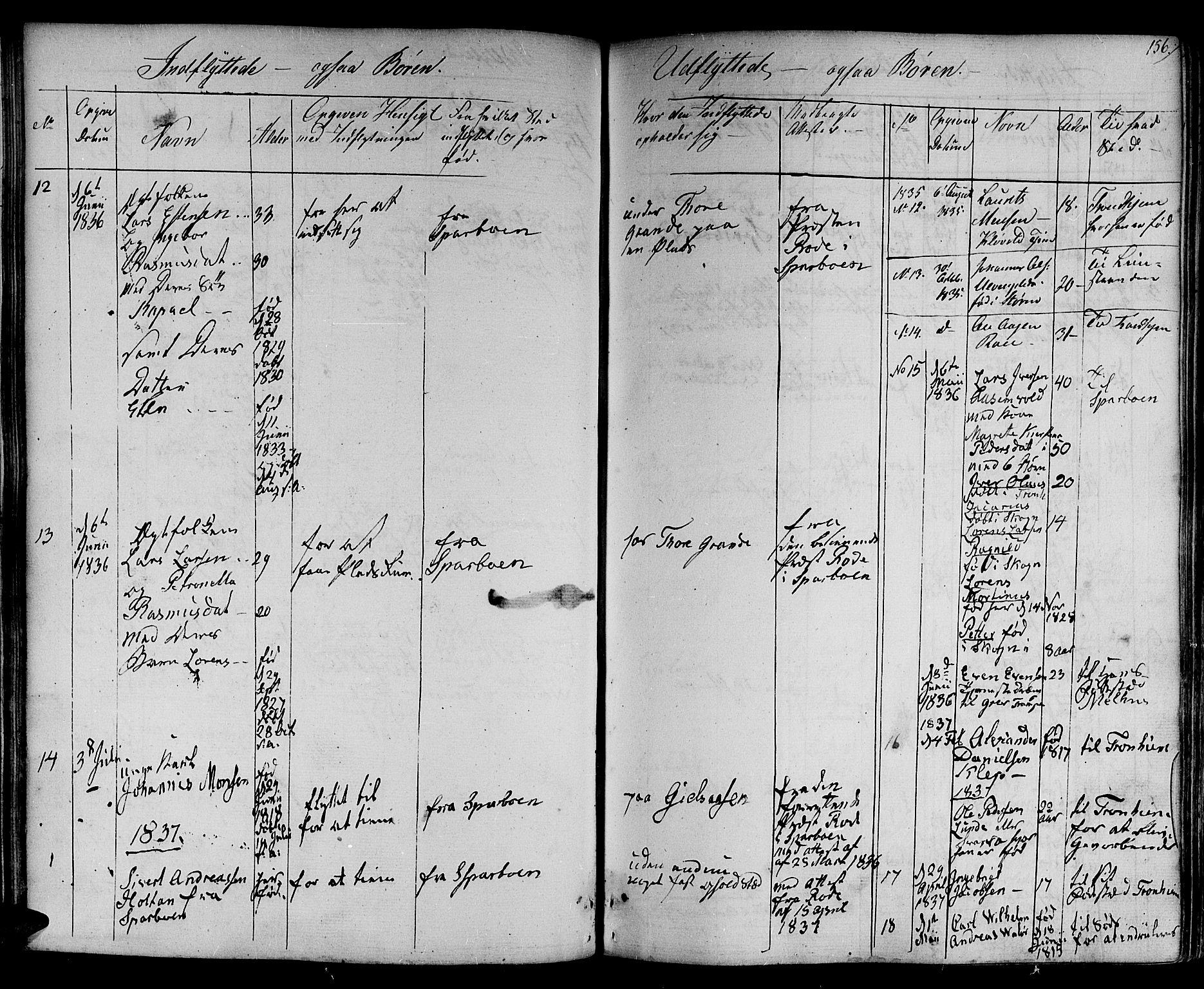 SAT, Ministerialprotokoller, klokkerbøker og fødselsregistre - Nord-Trøndelag, 730/L0277: Ministerialbok nr. 730A06 /1, 1830-1839, s. 156