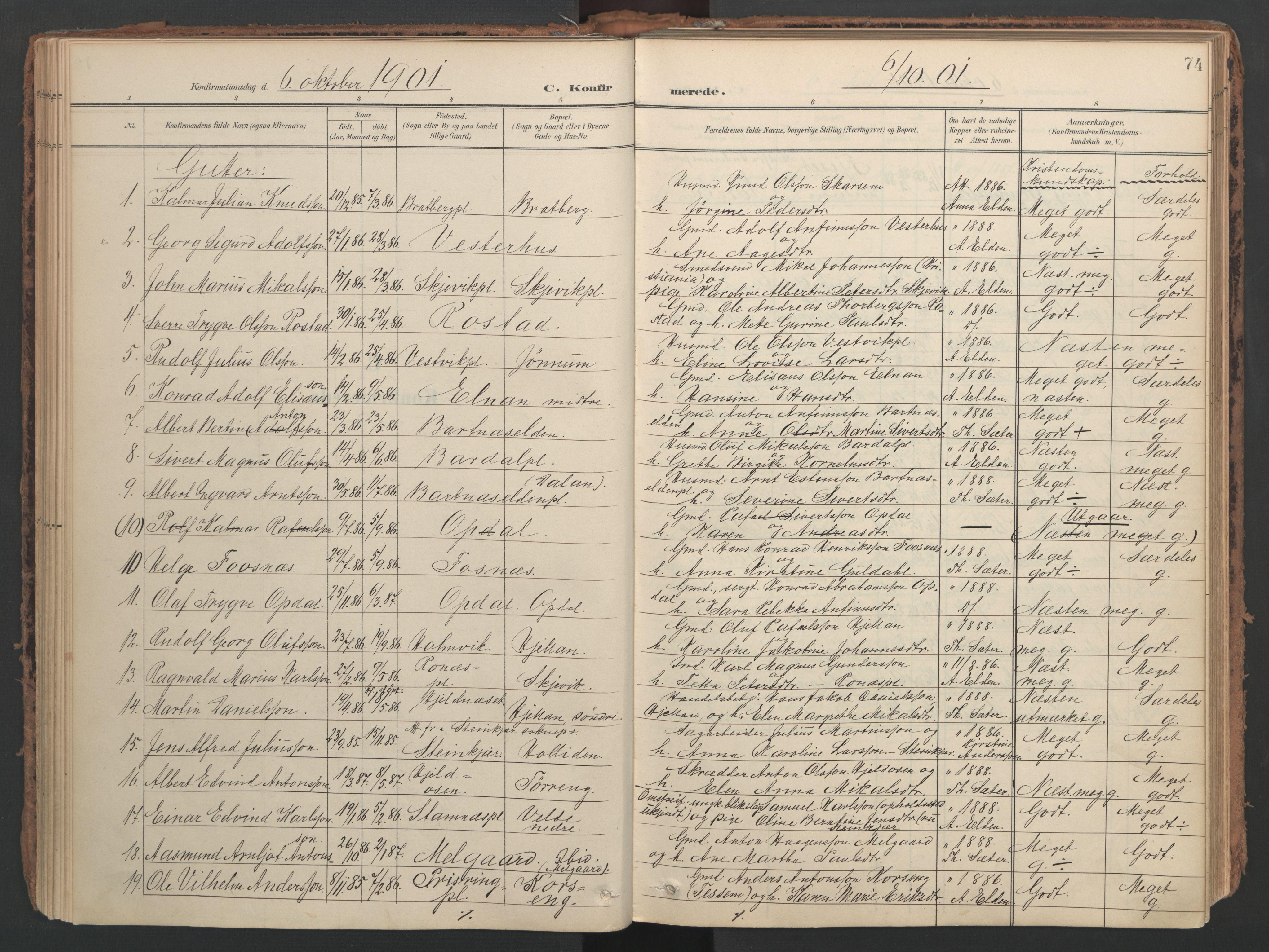 SAT, Ministerialprotokoller, klokkerbøker og fødselsregistre - Nord-Trøndelag, 741/L0397: Ministerialbok nr. 741A11, 1901-1911, s. 74