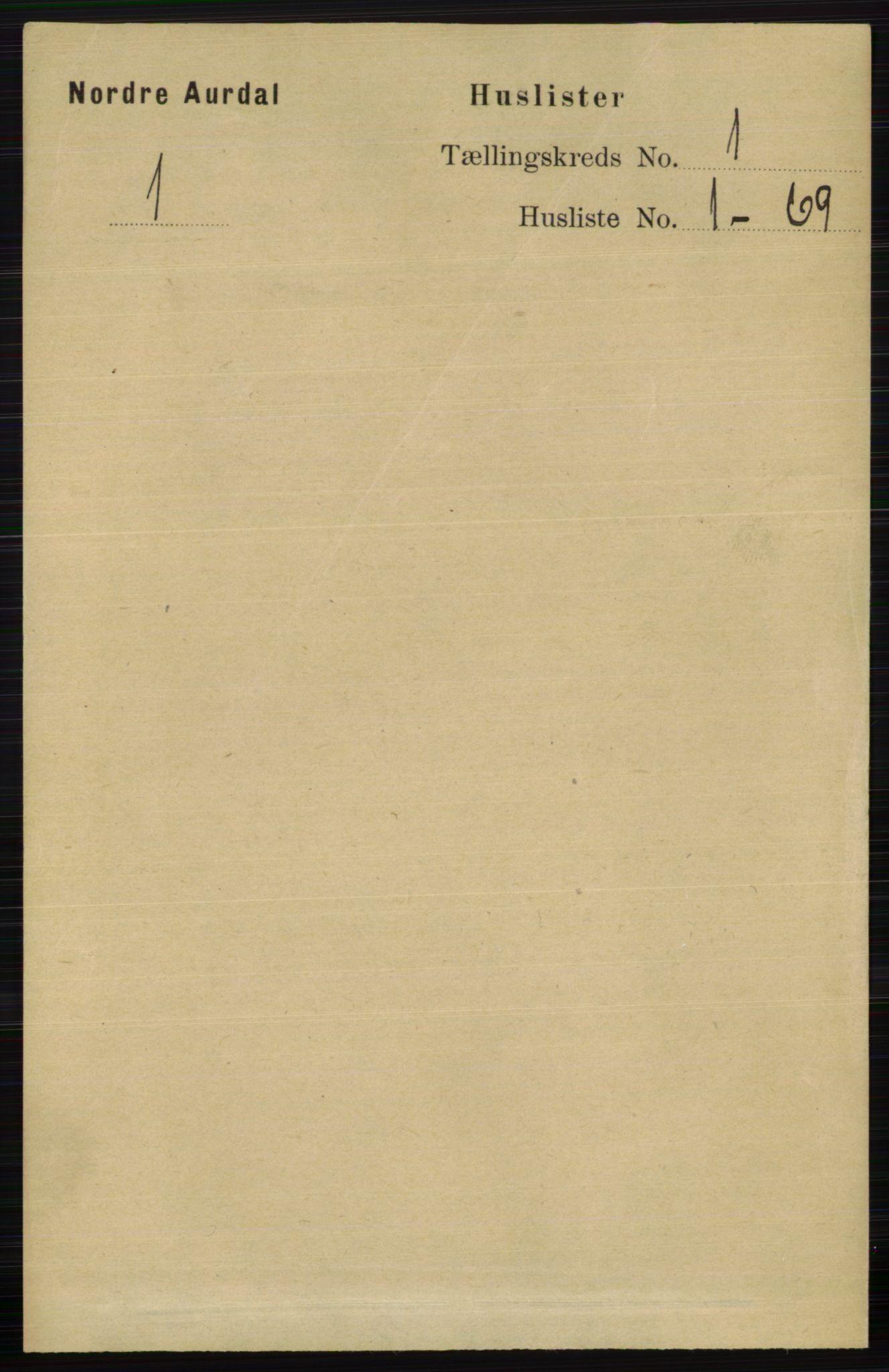 RA, Folketelling 1891 for 0542 Nord-Aurdal herred, 1891, s. 44