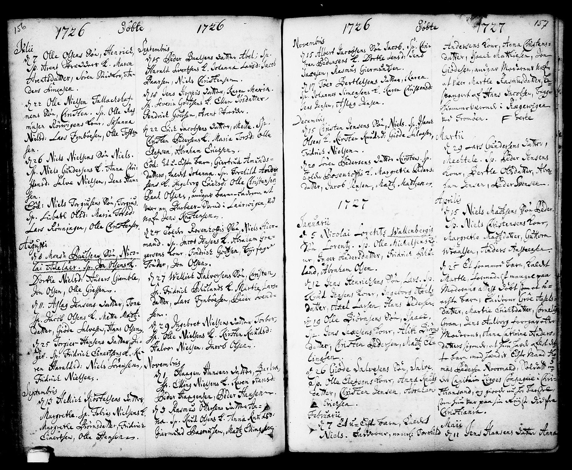 SAKO, Kragerø kirkebøker, F/Fa/L0001: Ministerialbok nr. 1, 1702-1766, s. 156-157