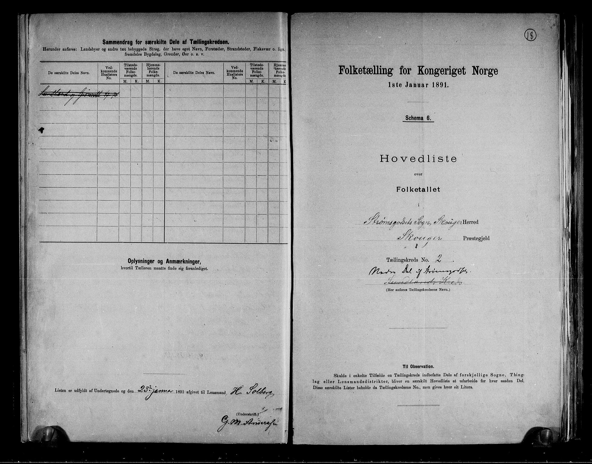 RA, Folketelling 1891 for 0712 Skoger herred, 1891, s. 6
