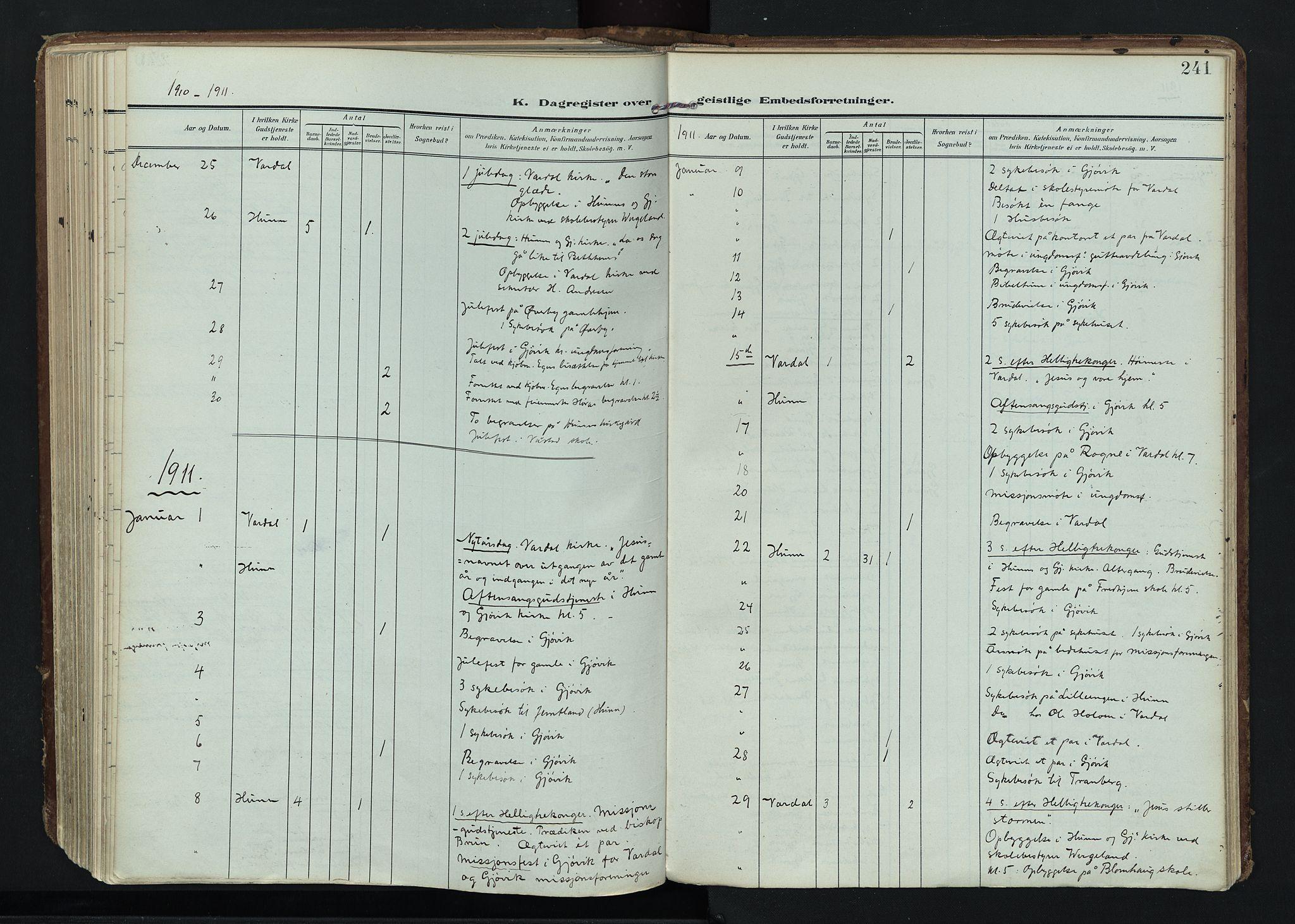 SAH, Vardal prestekontor, H/Ha/Haa/L0020: Ministerialbok nr. 20, 1907-1921, s. 241