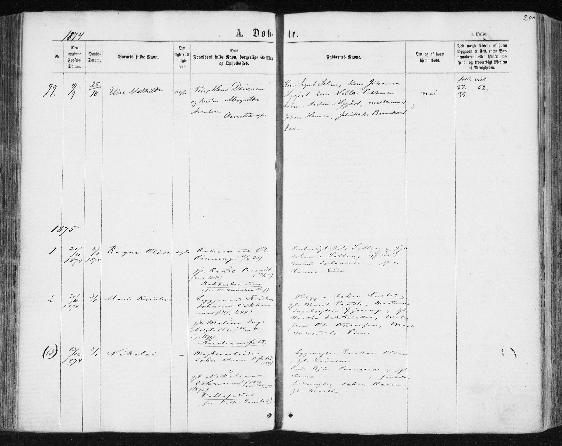SAT, Ministerialprotokoller, klokkerbøker og fødselsregistre - Sør-Trøndelag, 604/L0186: Ministerialbok nr. 604A07, 1866-1877, s. 200
