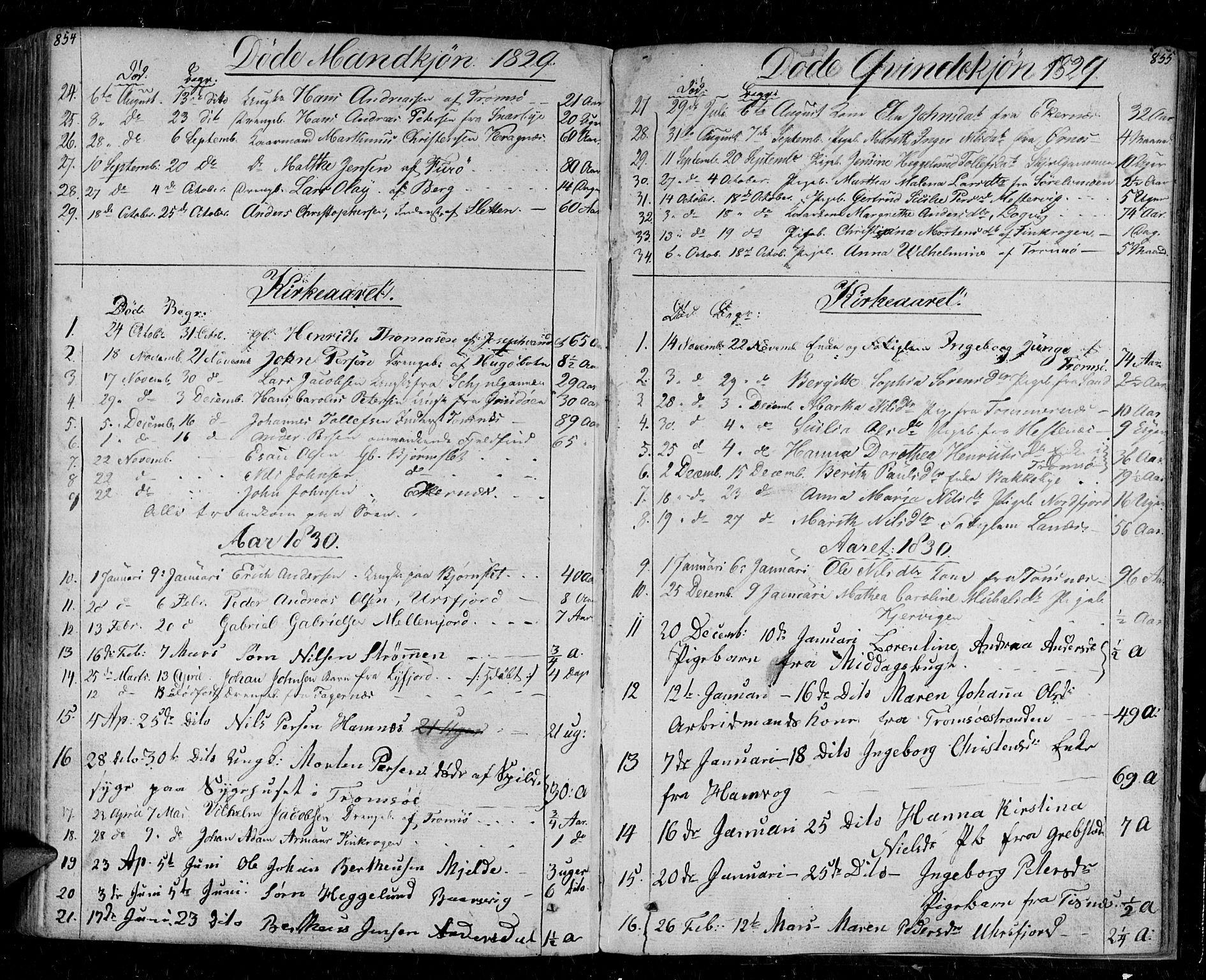 SATØ, Tromsø sokneprestkontor/stiftsprosti/domprosti, G/Ga/L0008kirke: Ministerialbok nr. 8, 1829-1837, s. 854-855