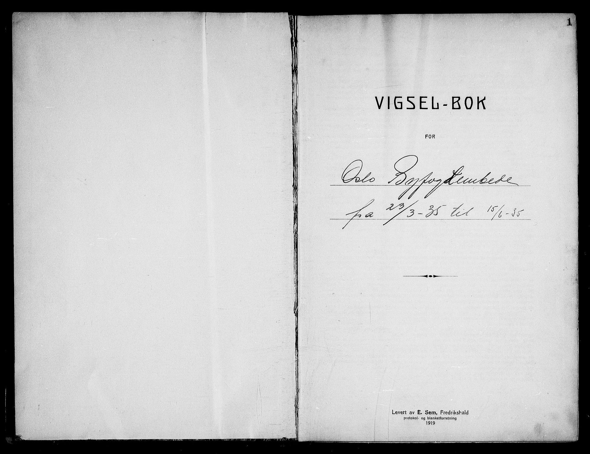 SAO, Oslo byfogd avd. I, L/Lb/Lbb/L0025: Notarialprotokoll, rekke II: Vigsler, 1935-1936, s. 1a
