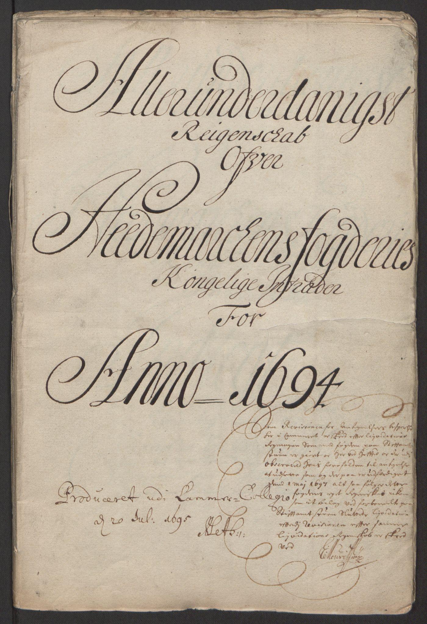 RA, Rentekammeret inntil 1814, Reviderte regnskaper, Fogderegnskap, R16/L1035: Fogderegnskap Hedmark, 1694, s. 3
