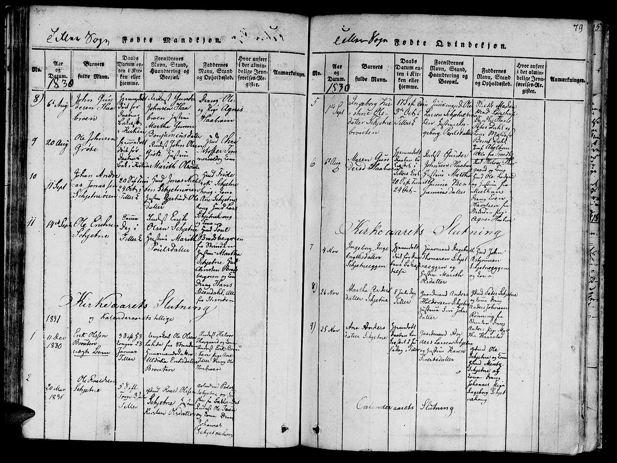 SAT, Ministerialprotokoller, klokkerbøker og fødselsregistre - Sør-Trøndelag, 618/L0440: Ministerialbok nr. 618A04 /2, 1816-1843, s. 79