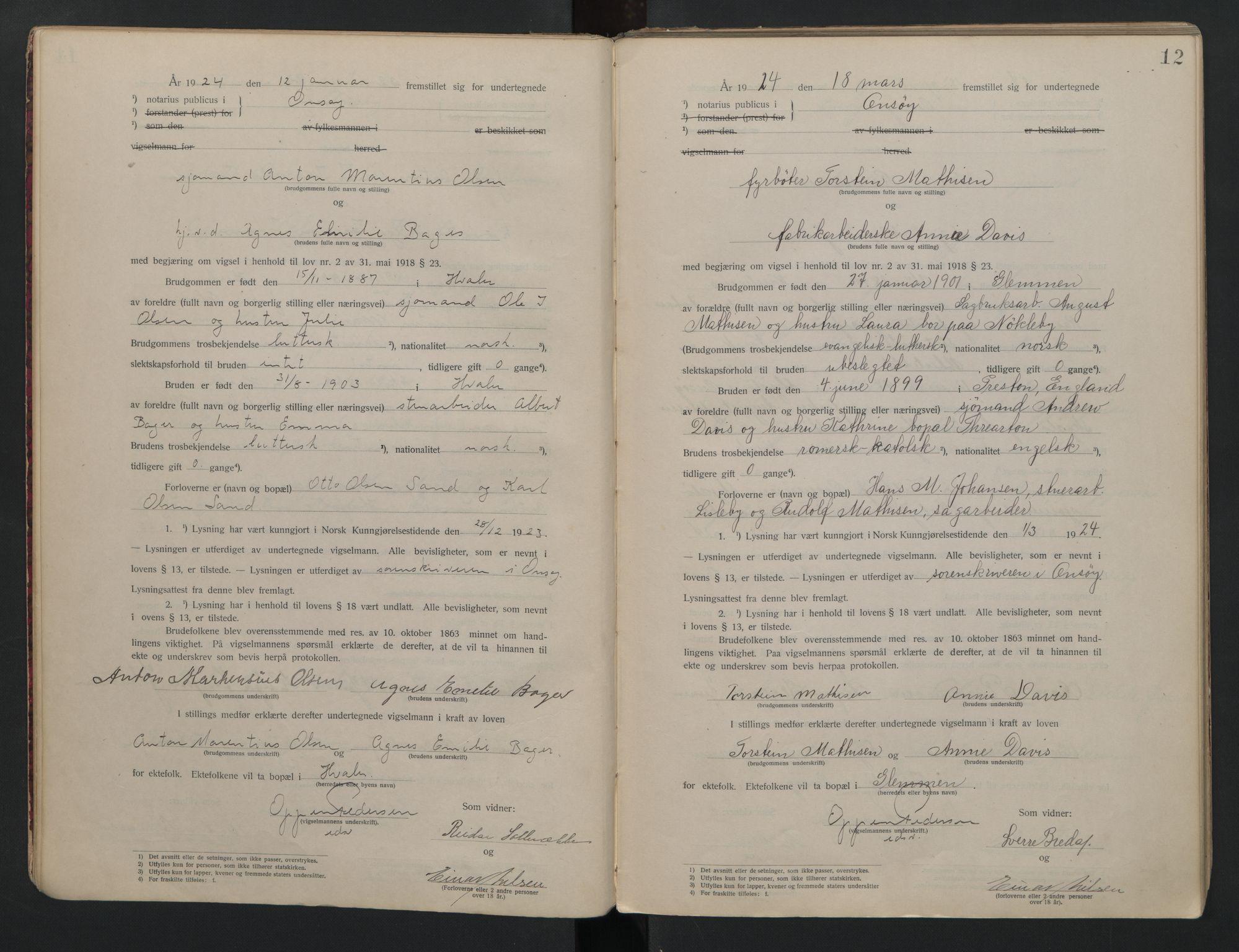 SAO, Onsøy sorenskriveri, L/La/L0001: Vigselsbok, 1920-1942, s. 12